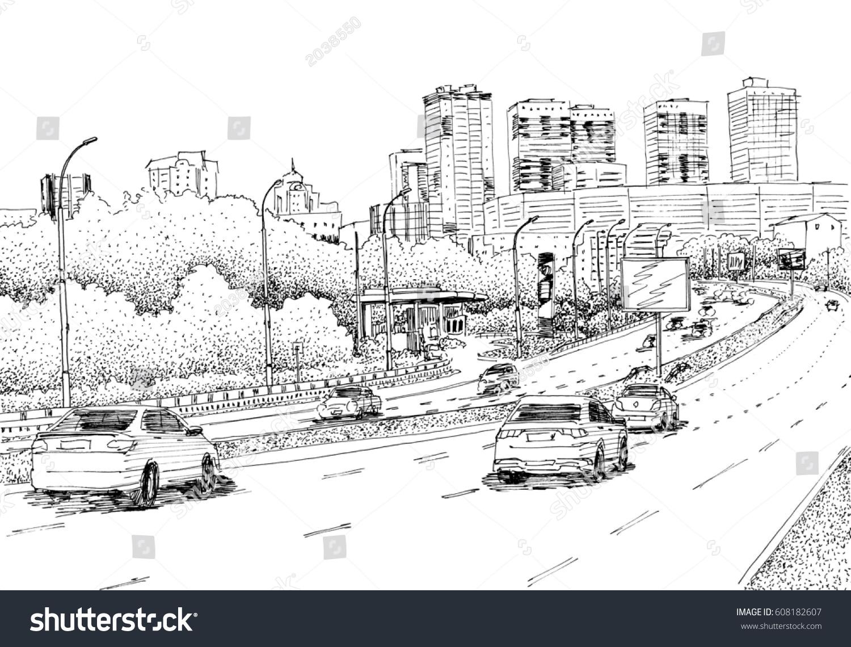 Royalty-free City street view, traffic scene. Black… #608182607 ...