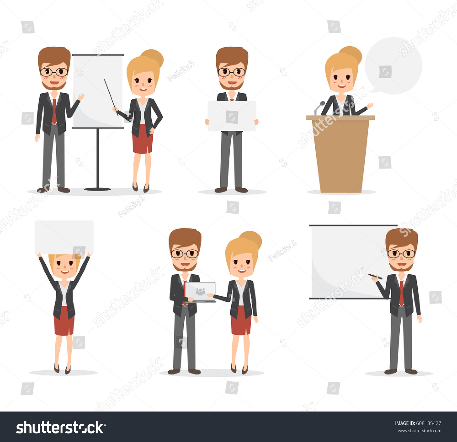 Character Design Presentation : Businessman business woman job character office stock