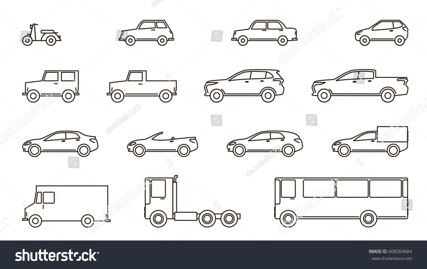 Car Icons Cars Lines Flat Design Stock Vector 608204684 - Shutterstock