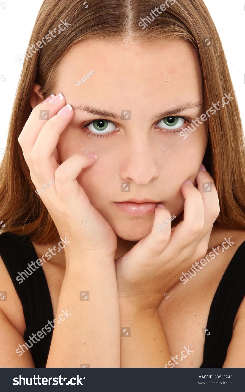 Close Beautiful American 16 Year Old Stock Photo 60823243