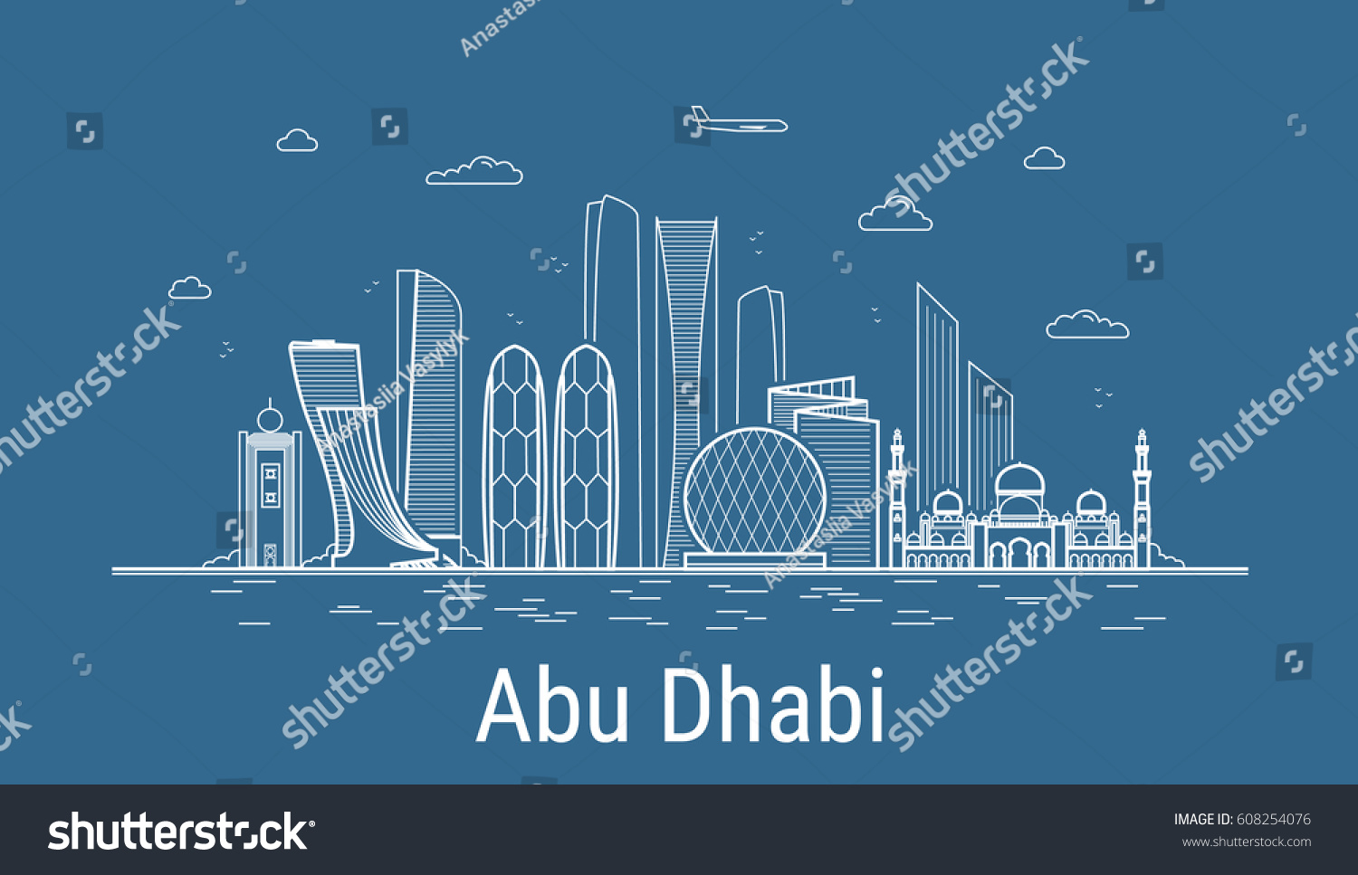 Famous Line Art : Abu dhabi city line art vector stock hd royalty free
