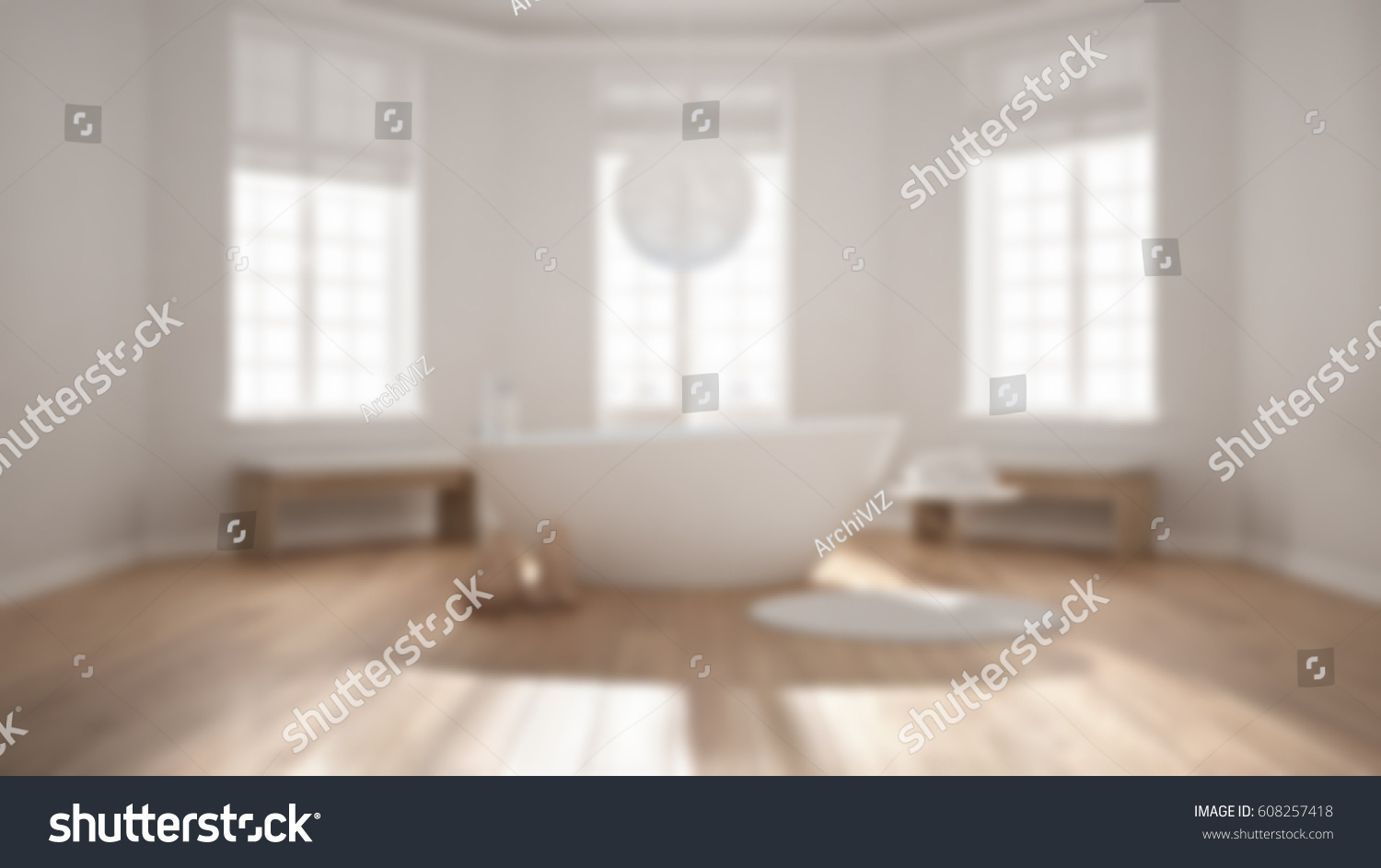 Blur Background Interior Design Zen Classic Spa Bathroom With Bathtub Minimalist Scandinavian Hotel