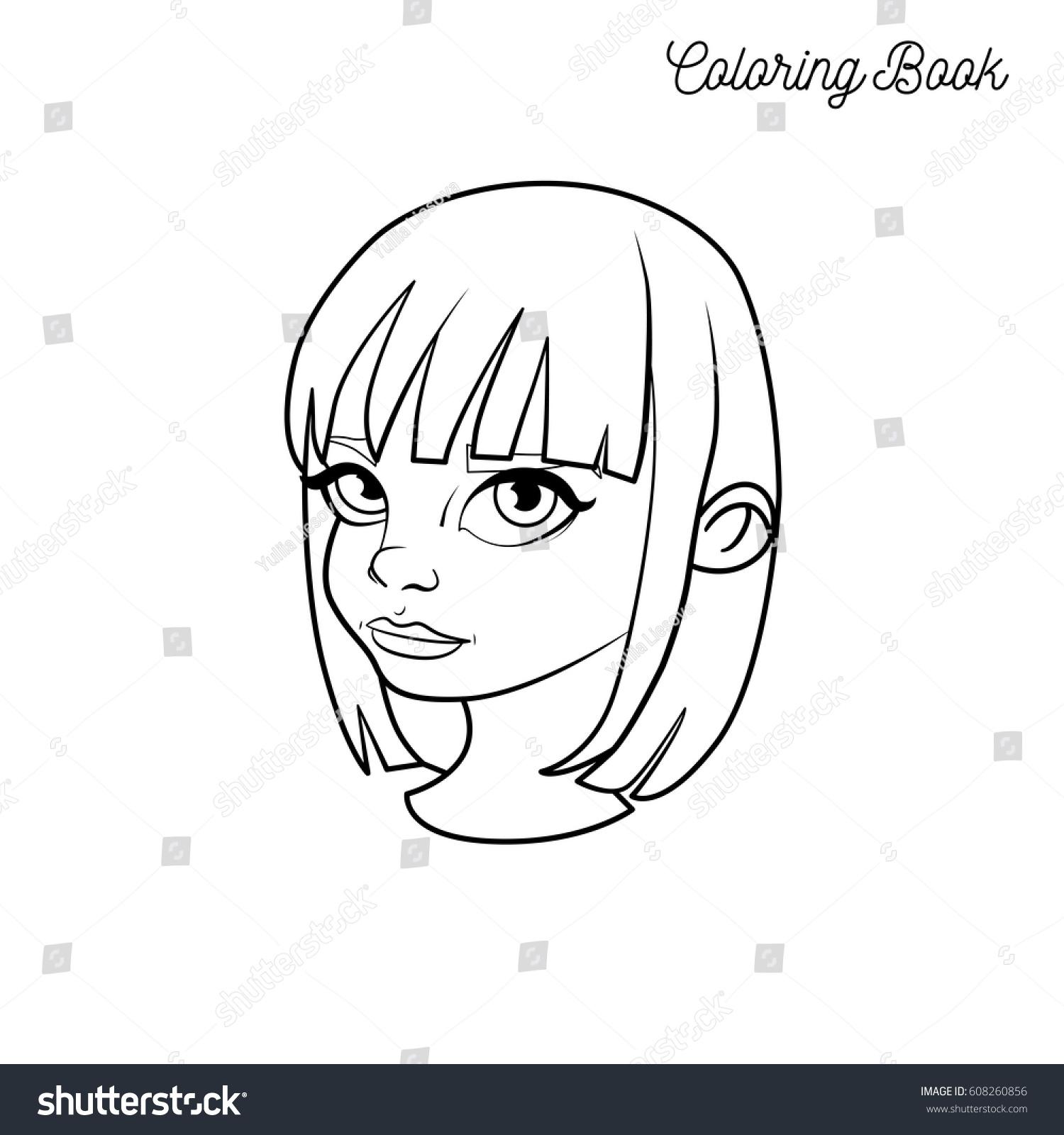 Coloring Book Head Girl Short Hair Stock Vector Royalty Free