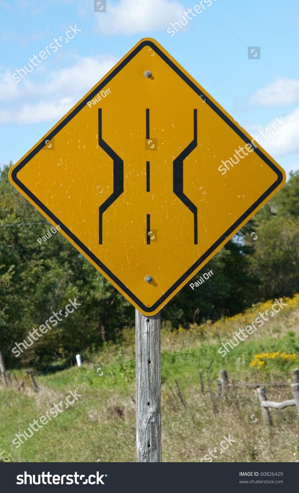narrow bridge sign on country road stock photo 60826429