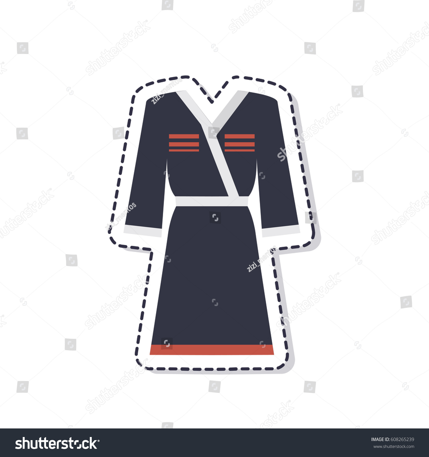 Georgian traditional costume sticker isolated on white background vector illustration