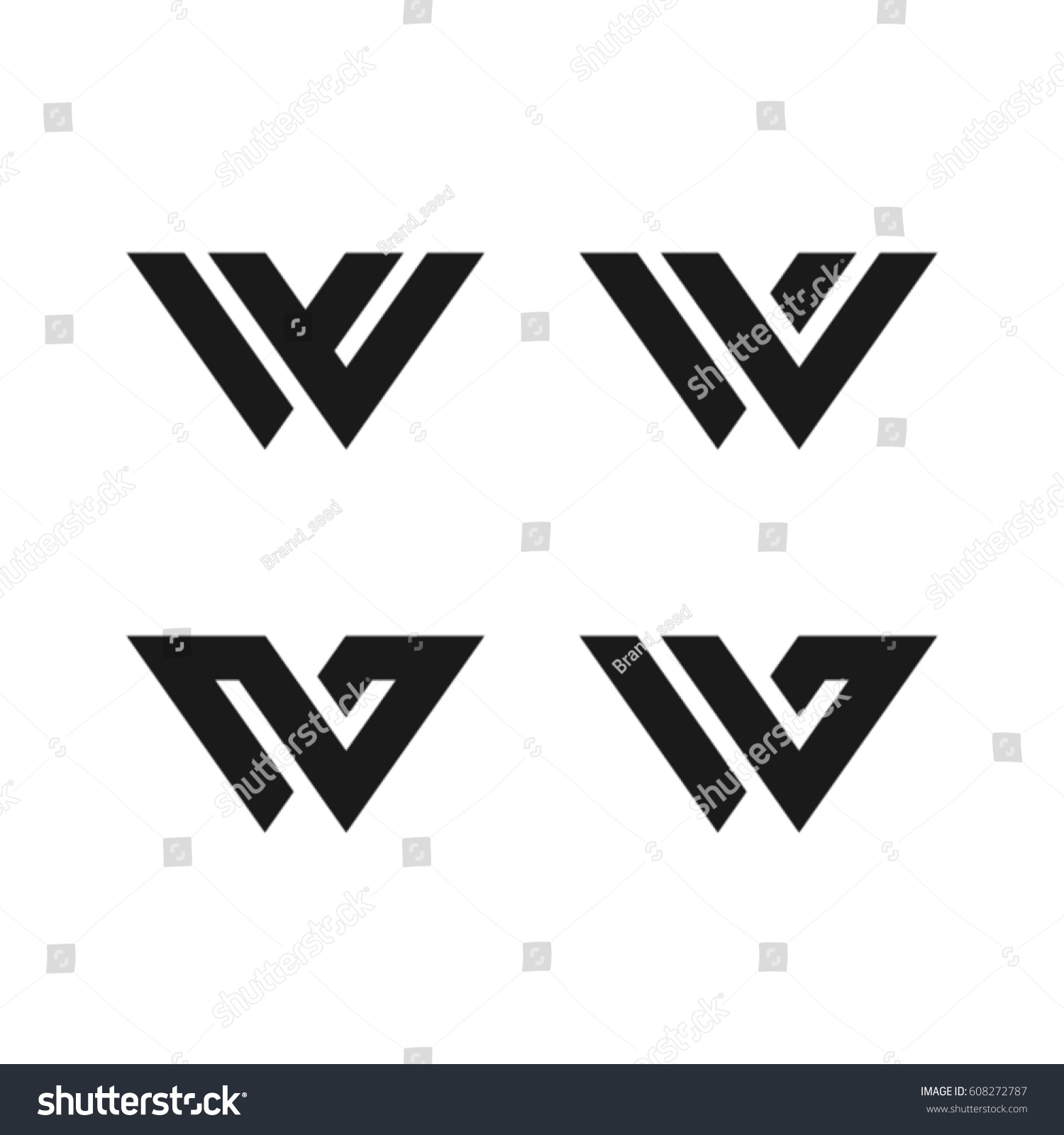 Royalty Free W Symbol W Letter Character Typeface W 608272787