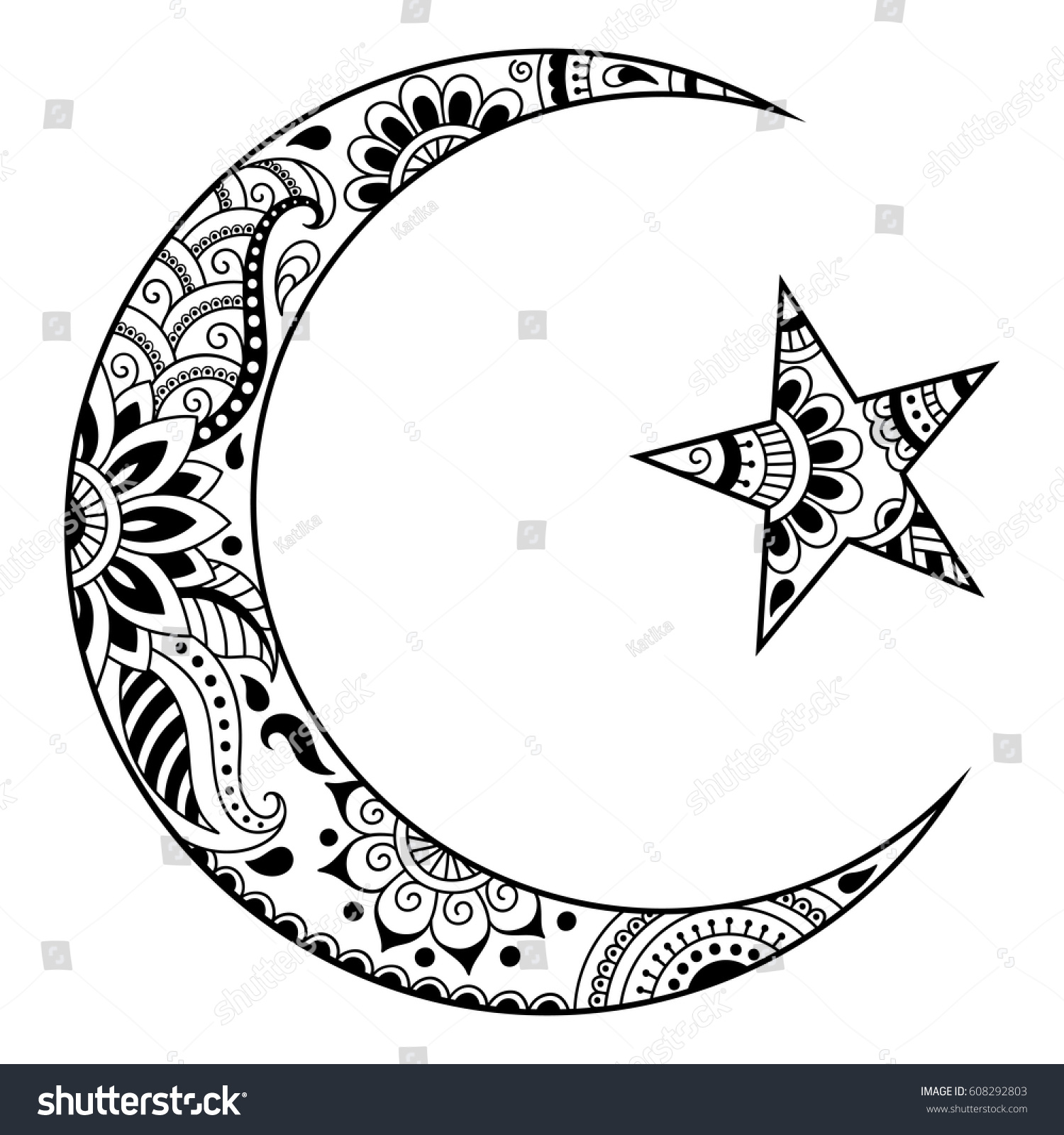 Religious islamic symbol star crescent decorative stock vector religious islamic symbol of the star and the crescent decorative sign for making and tattoos buycottarizona