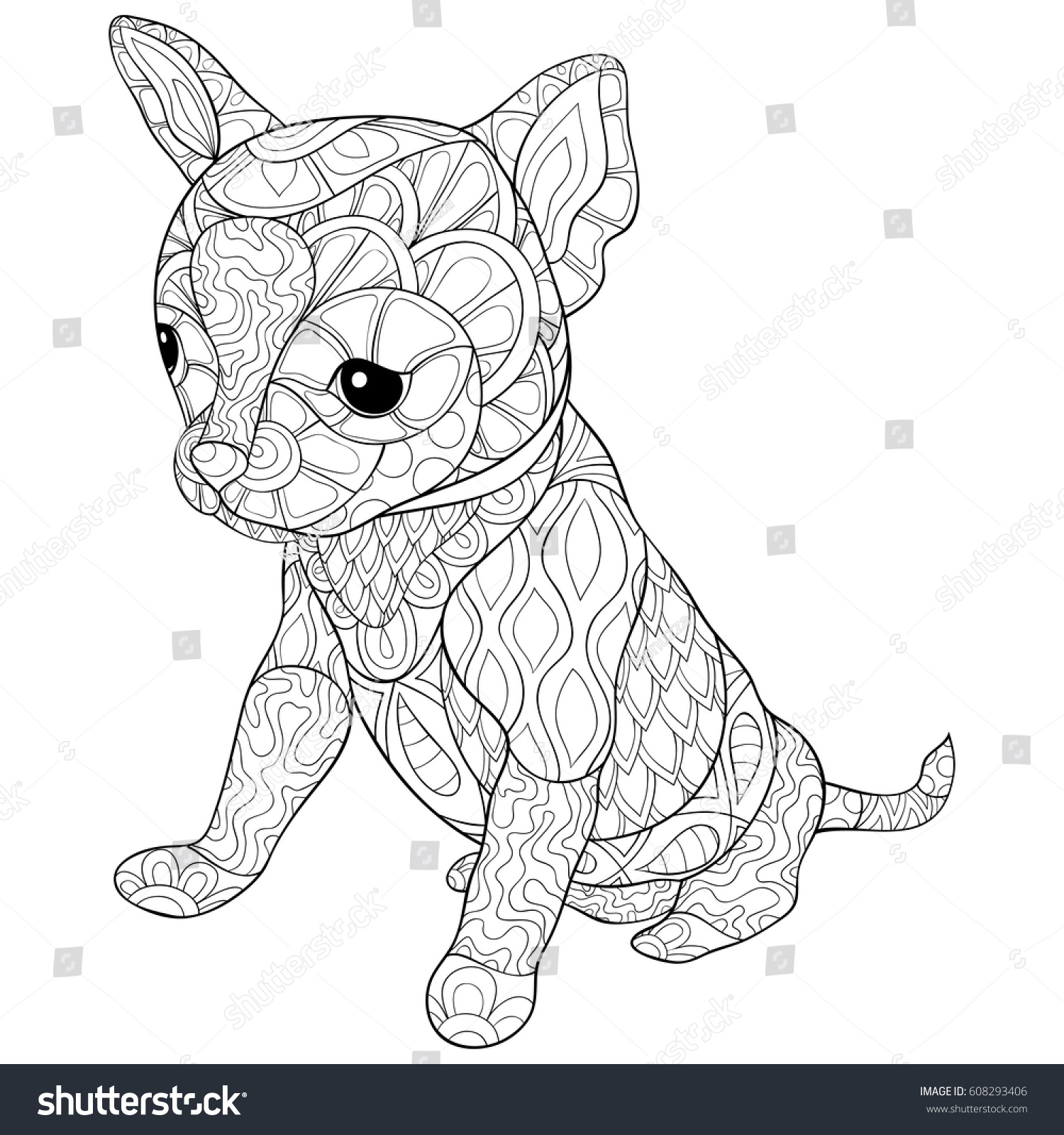 coloring pagebook dog zen art stock vector 608293406