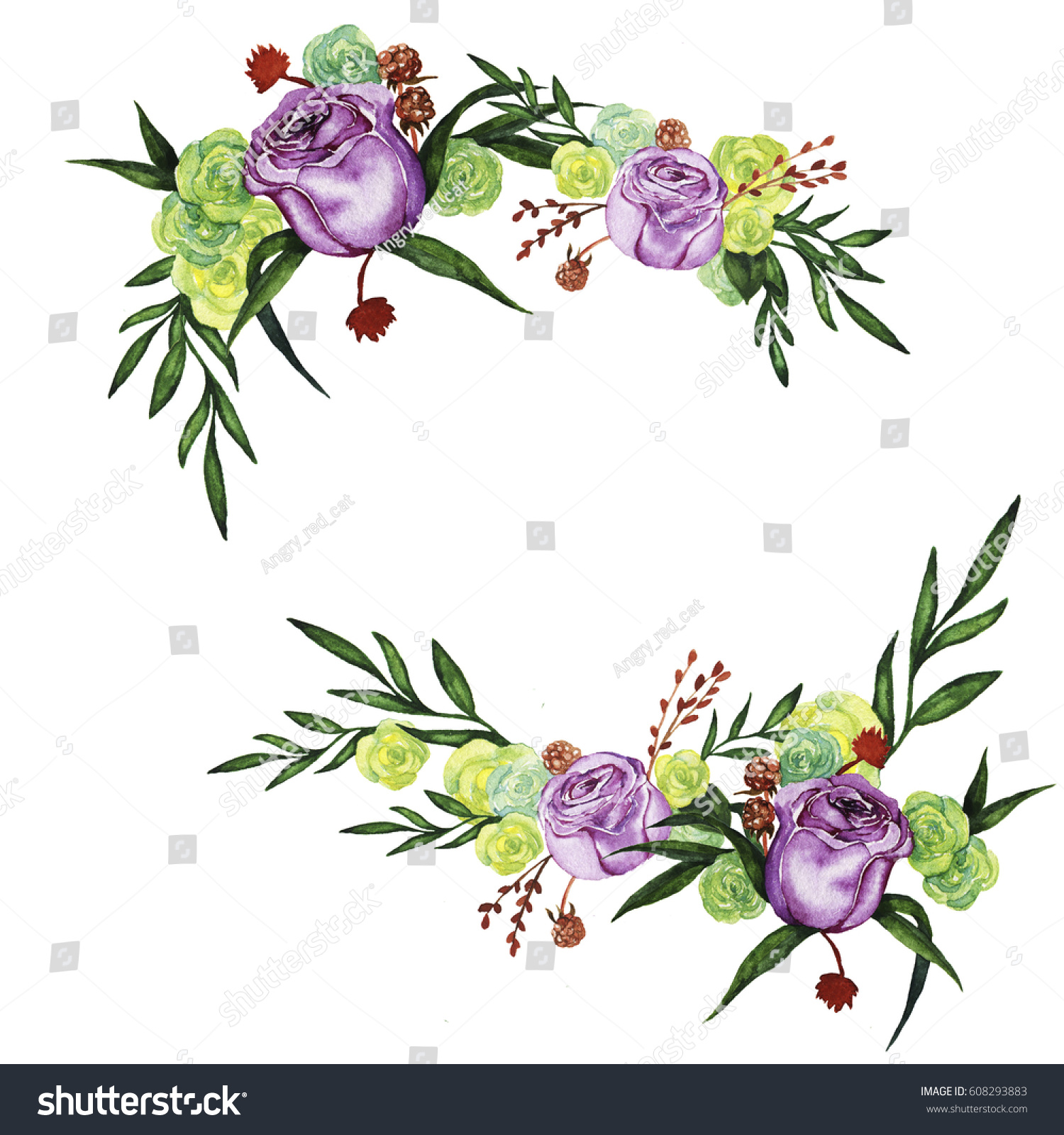Lilac And Yellow Roses With Green Leaves And Dry Flowers Composition