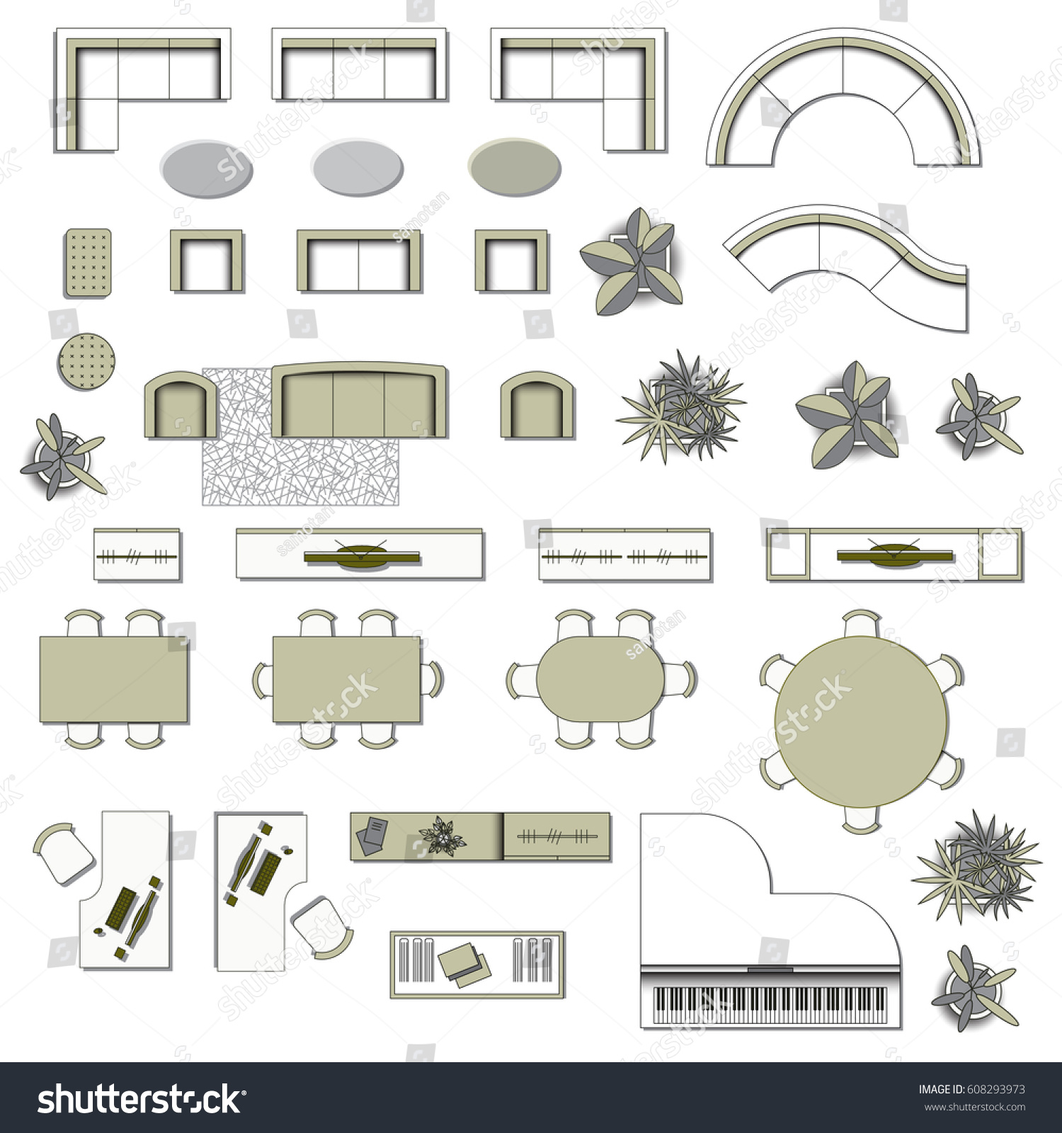 Set Interior Design House Rooms Furniture Stock Vector: Set Top View Interior Icon Design Stock Vector 608293973
