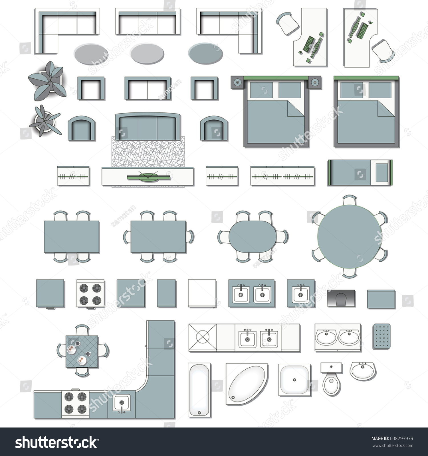 Set top view interior icon design stock vector 608293979 for Chair design elements