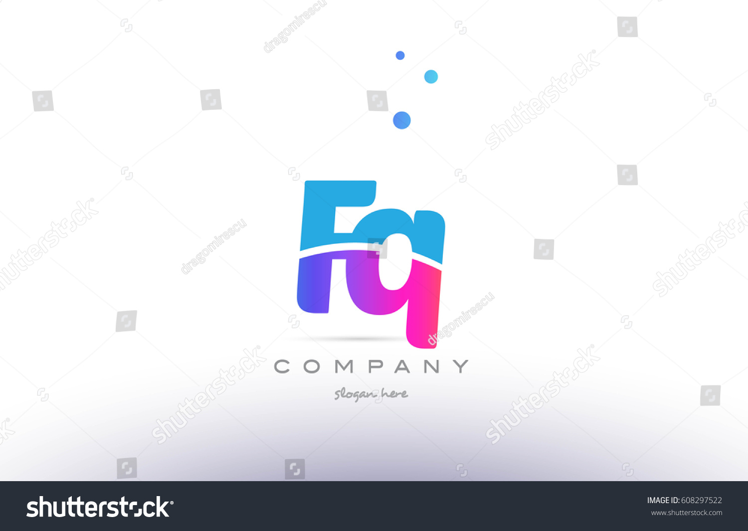 fq f q pink purple blue white uppercase lowercase modern creative alphabet  gradient company letter logo design