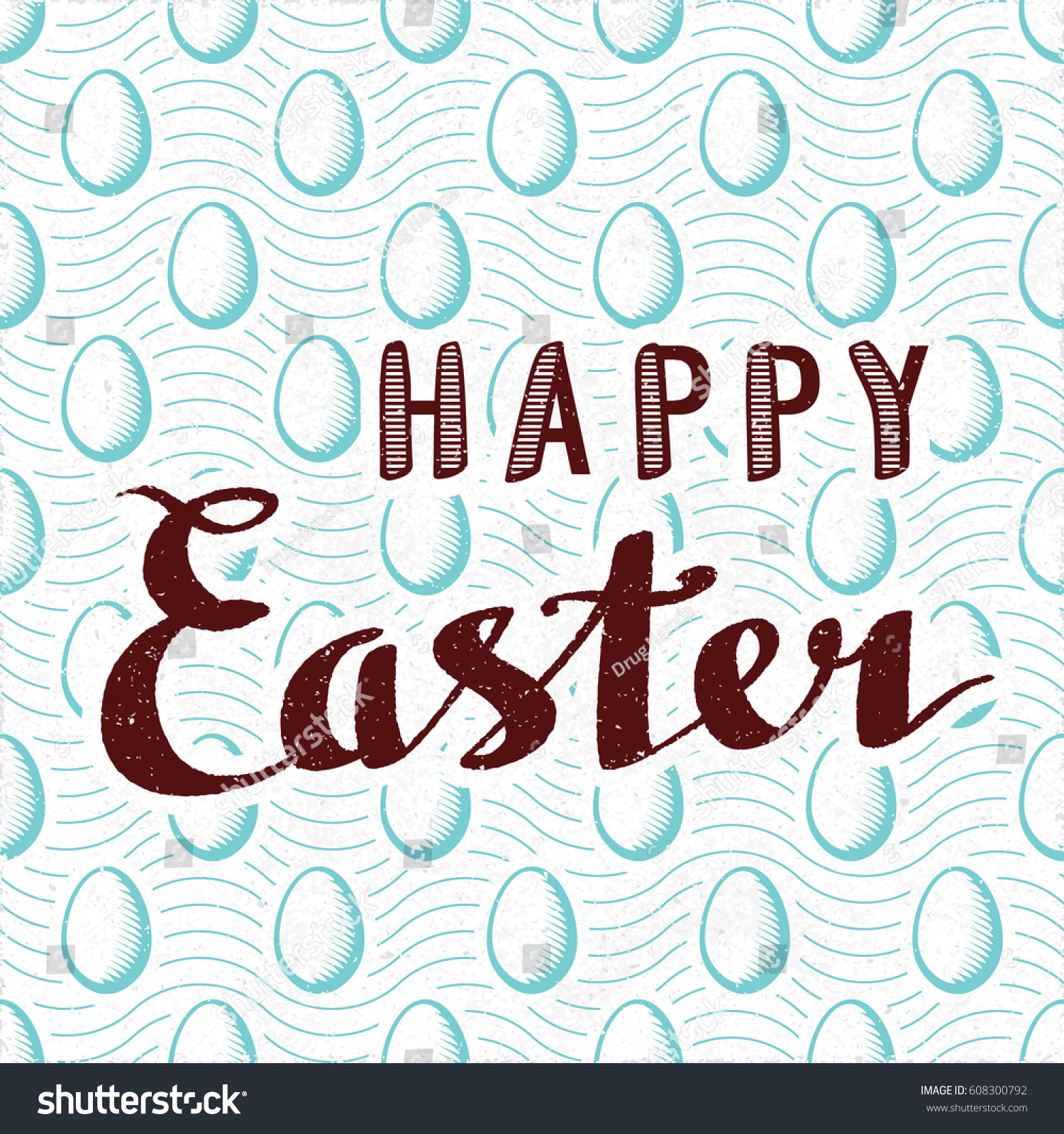 Happy Easter Retro Style Calligraphy Logo Lettering In Front Of