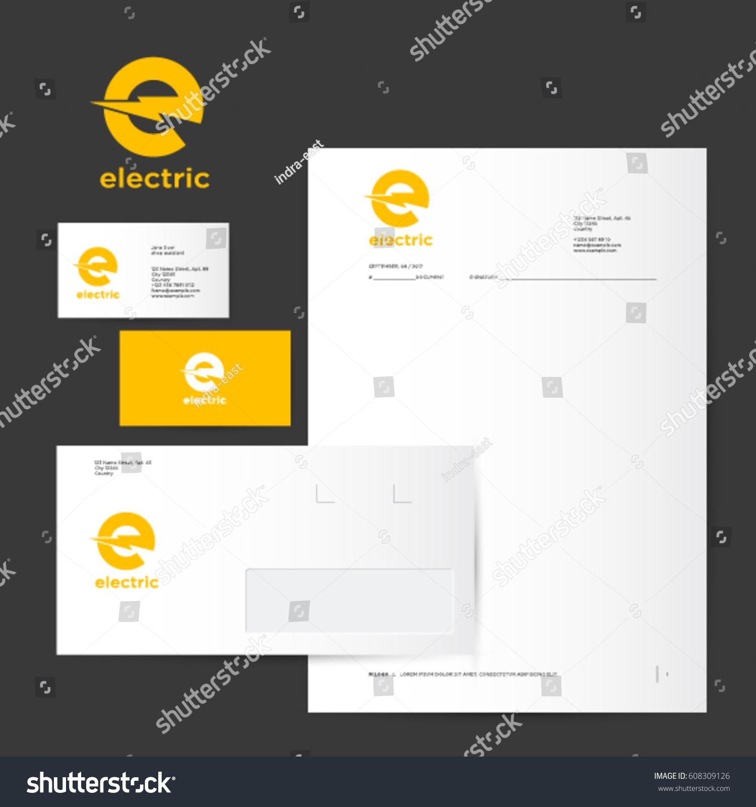E Logo Identity Electric Logo Yellow Stock Vector 608309126 ...