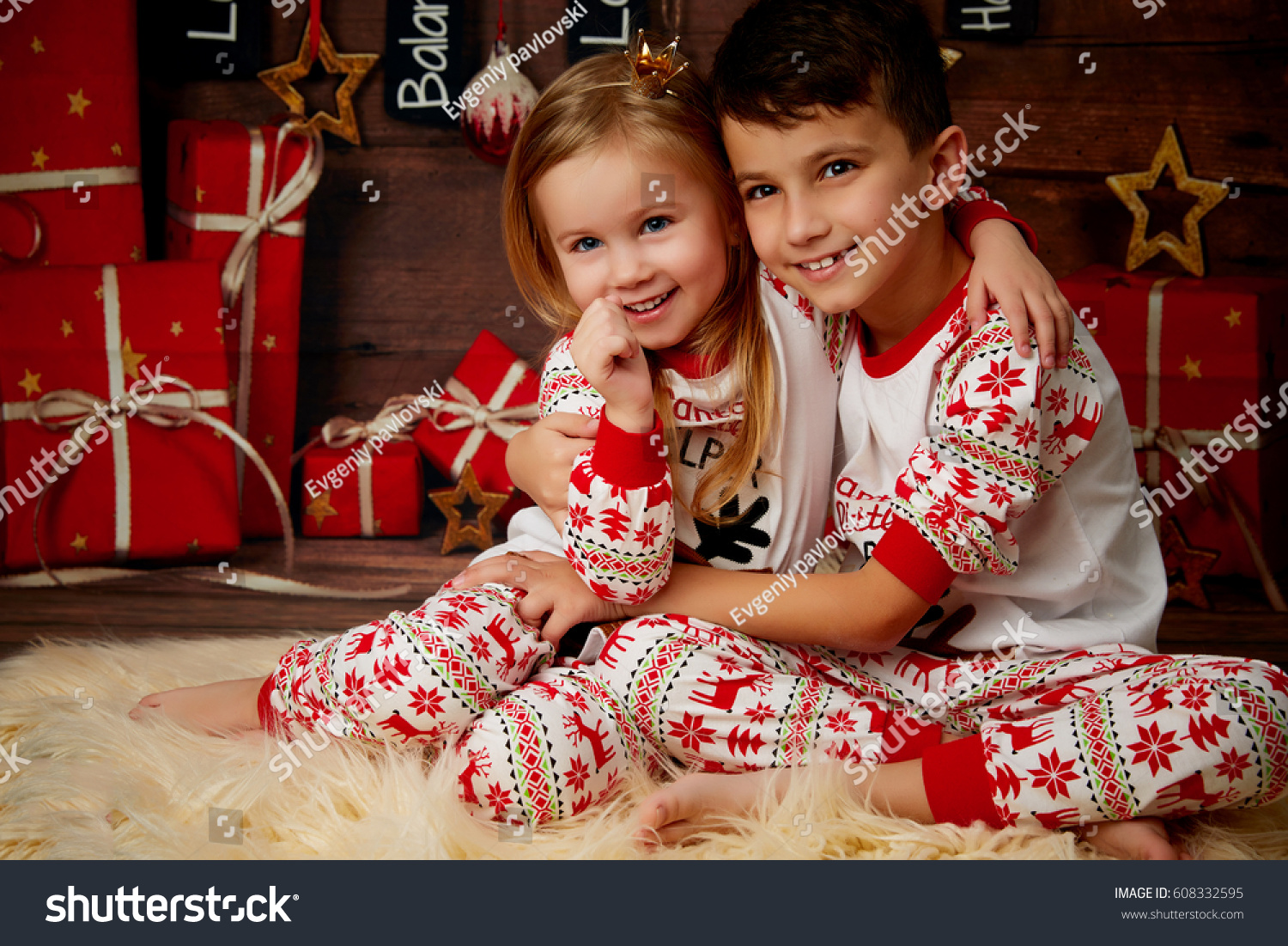 Happy Kids Opening Their Christmas Presents Stock Photo (Edit Now ...