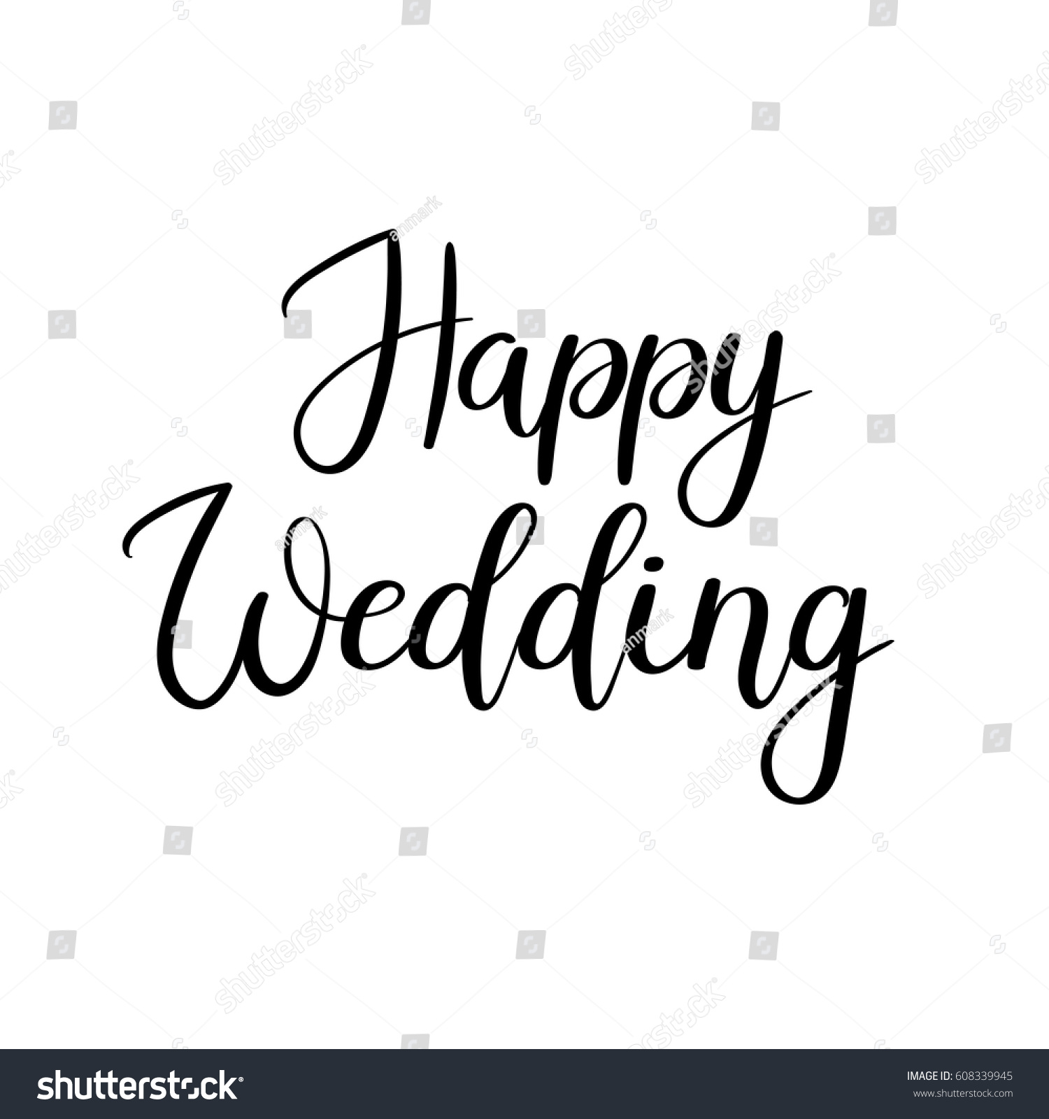 Happy Wedding Hand Lettering Text Calligraphy Stock Vector ...