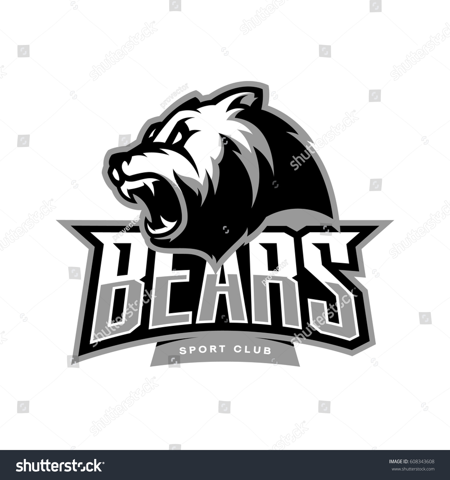 Furious bear sport vector logo concept isolated on white background modern predator professional team badge