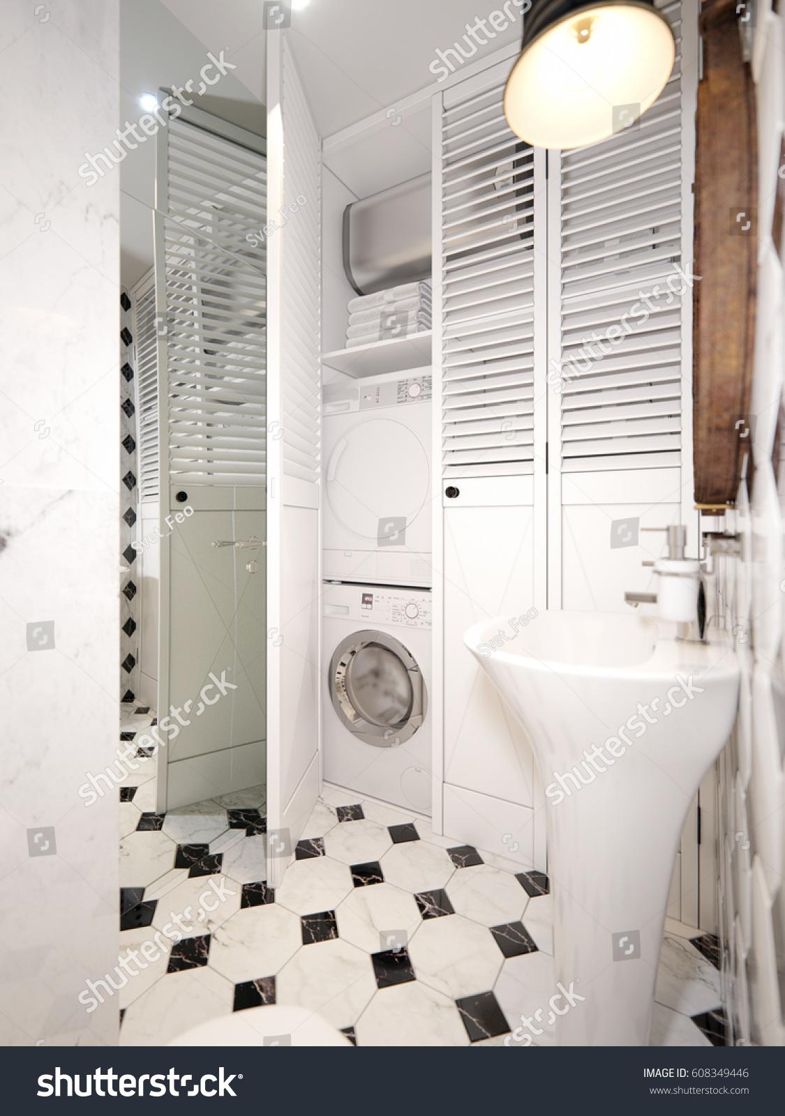 Modern White Water Closet Laundry Interior Stock Illustration ...