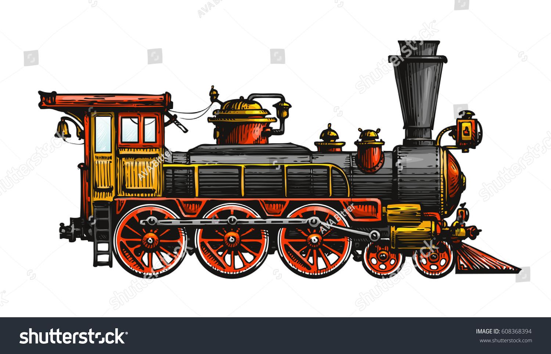 Vintage Steam Locomotive Drawn Ancient Train Stock Vector ...