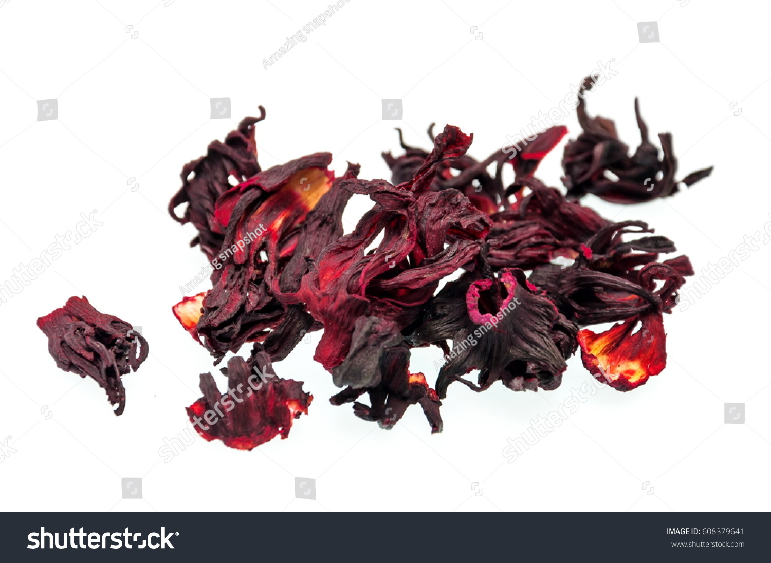 Dried hibiscus flower tea isolated on stock photo royalty free dried hibiscus flower tea isolated on white background selective focus izmirmasajfo Images