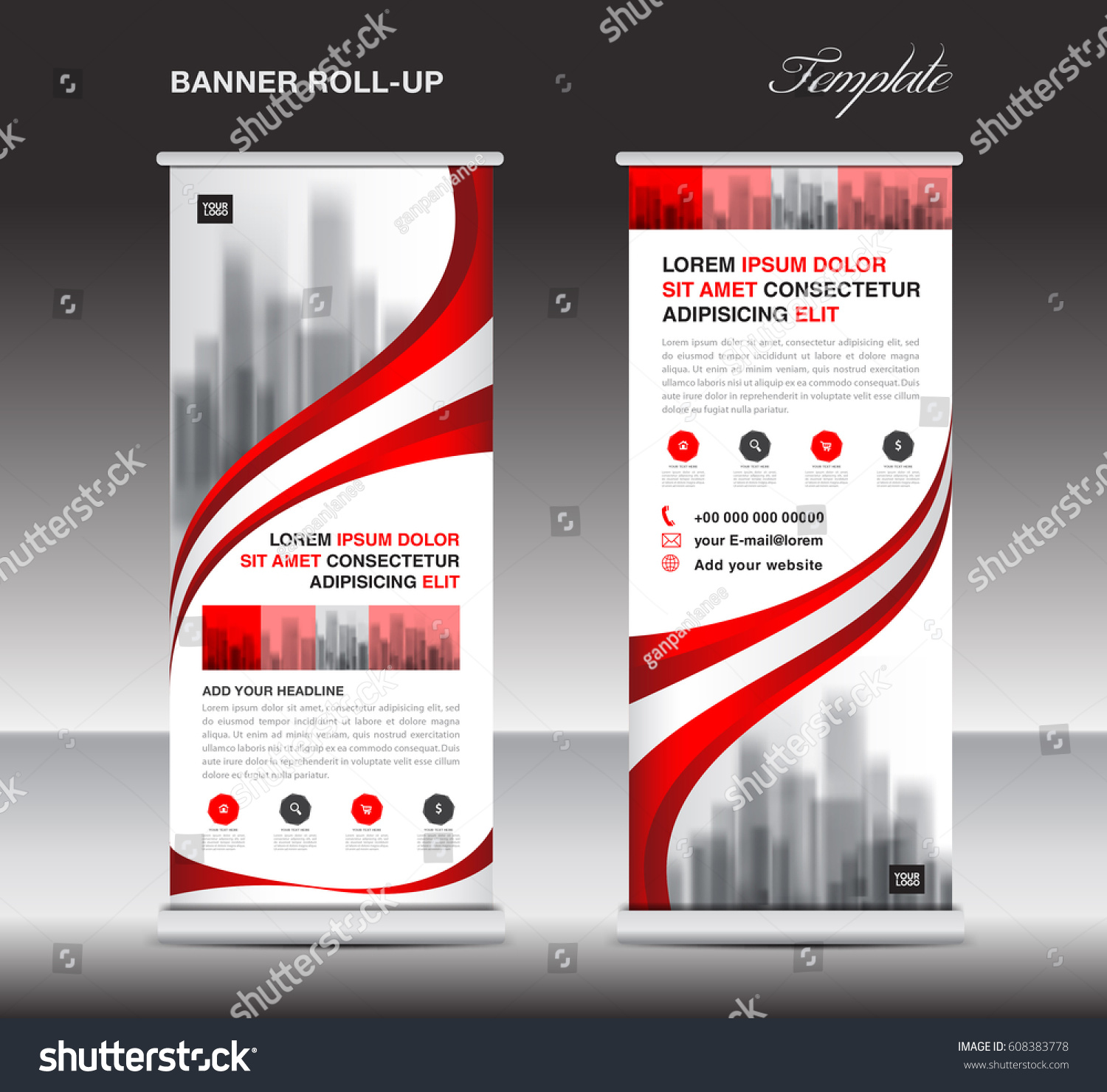 red roll banner stand template poster stock vector 608383778 shutterstock. Black Bedroom Furniture Sets. Home Design Ideas