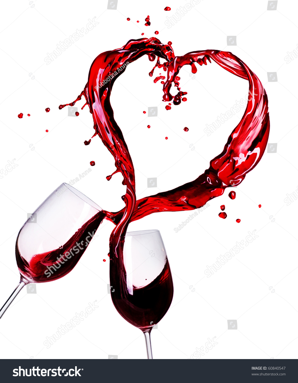 Two Glasses Of Red Wine Abstract Heart Splash Stock Photo ...