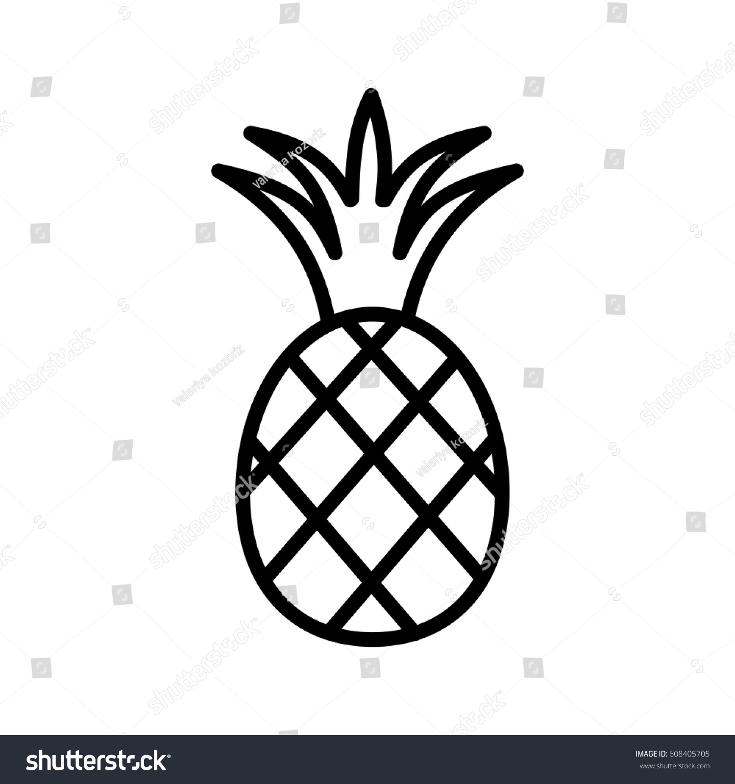 Pineapple Fruit Leaf Line Icon Black Stock Vector 608405705 ... for Clipart Pineapple Black And White  555kxo