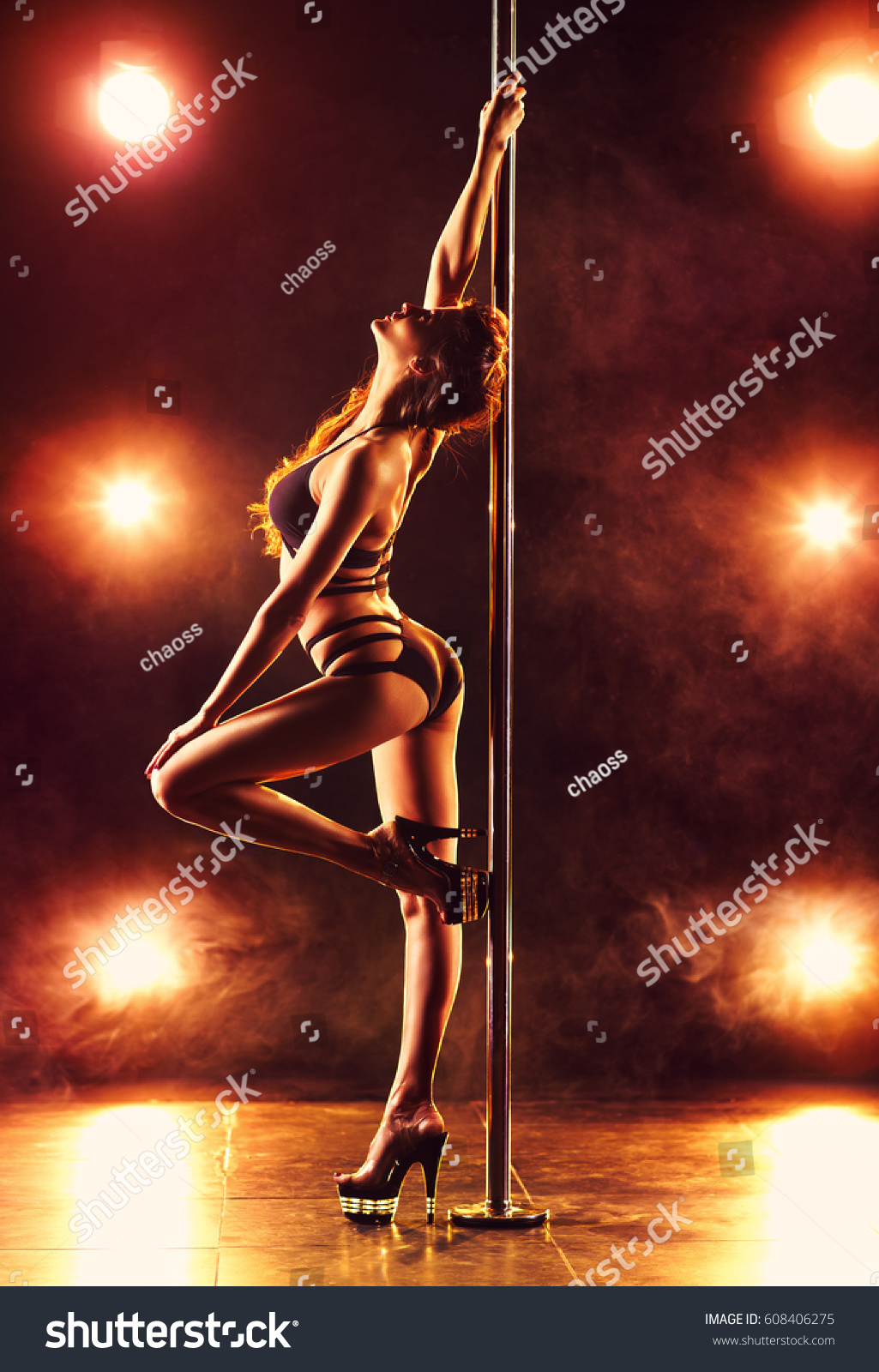Young Slim Sexy Woman Pole Dancing Stock Photo 608406275