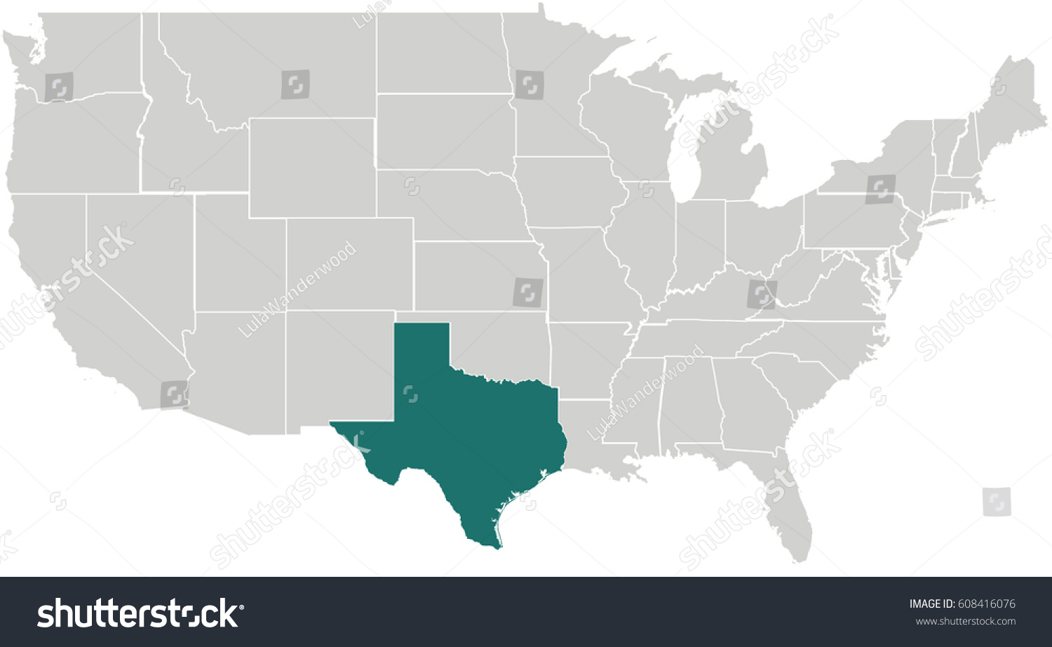 Map United States Texas Highlighted Stock Vector 608416076 ...