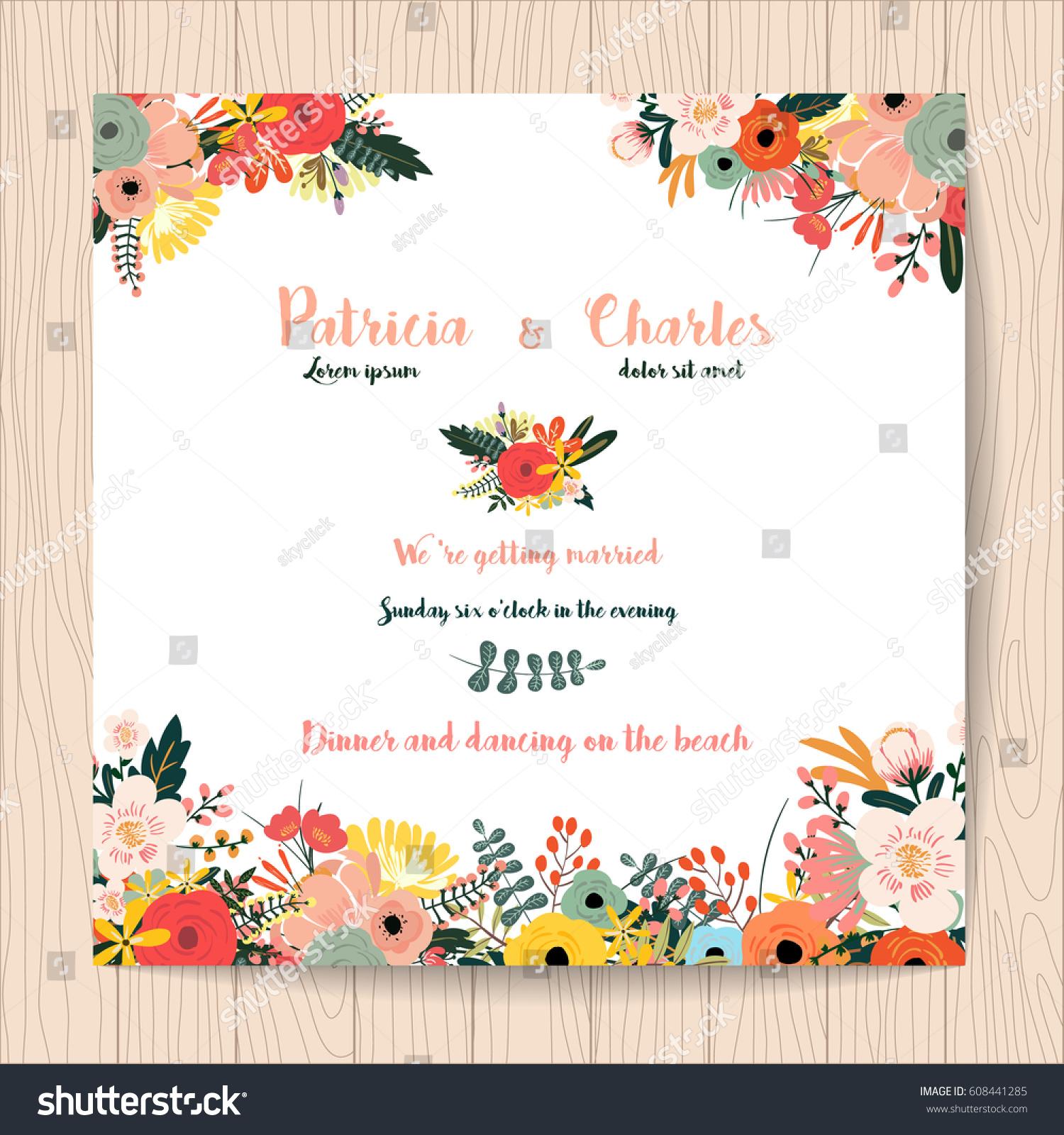 Wedding Invitation Card Flower Templates On Stock Vector 608441285 ...