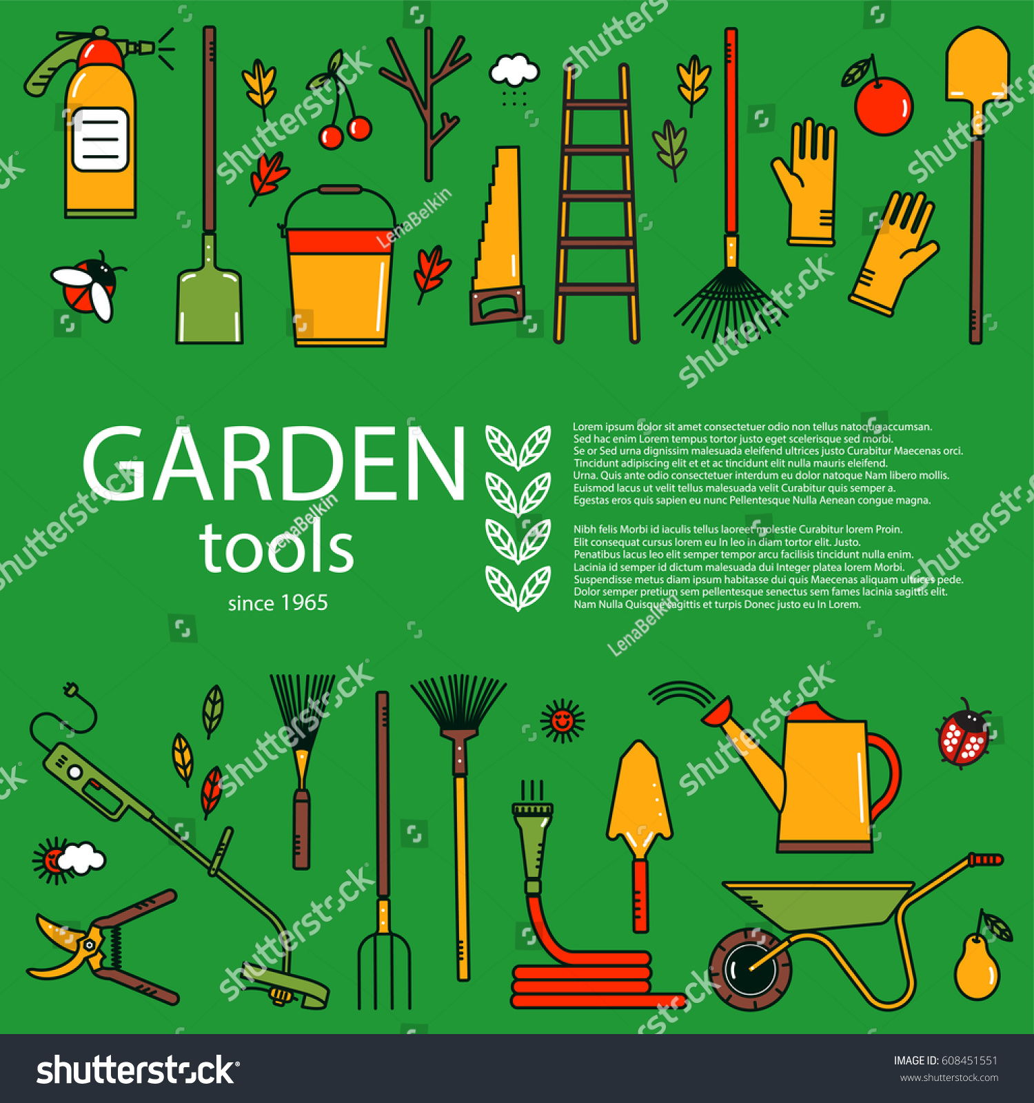 Garden Equipment Concept In Bright Colors. Design Element For