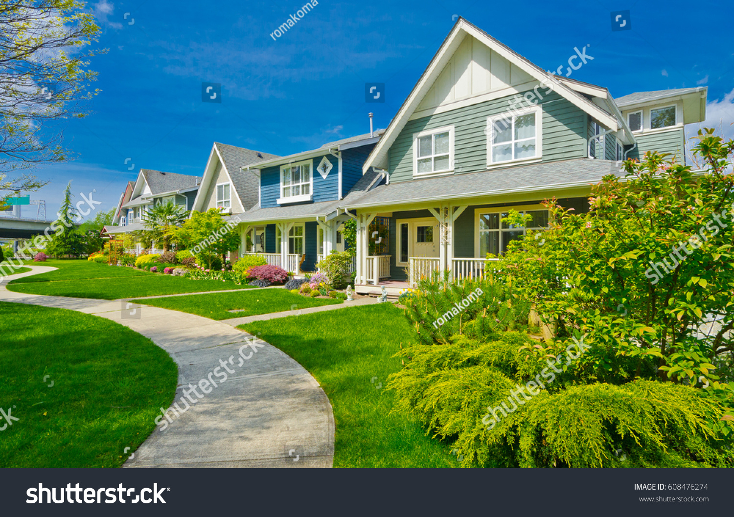 Nice comfortable neighborhood some homes on stock photo for Nice houses in canada