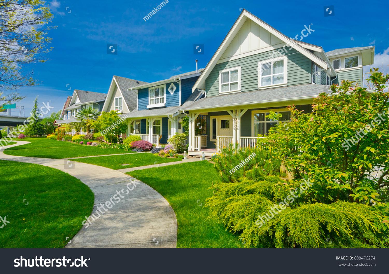 Nice Comfortable Neighborhood Some Homes On Stock Photo