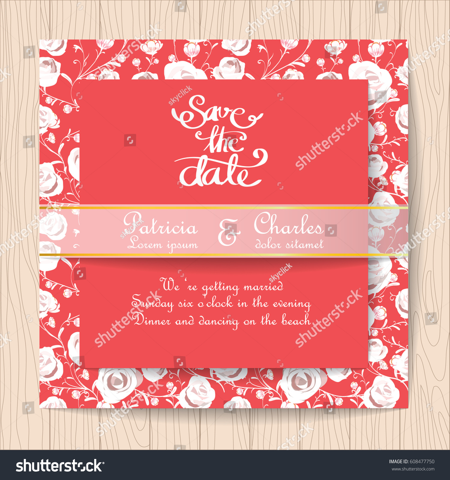 Wedding Invitation Red Card White Rose Stock Vector (Royalty Free ...