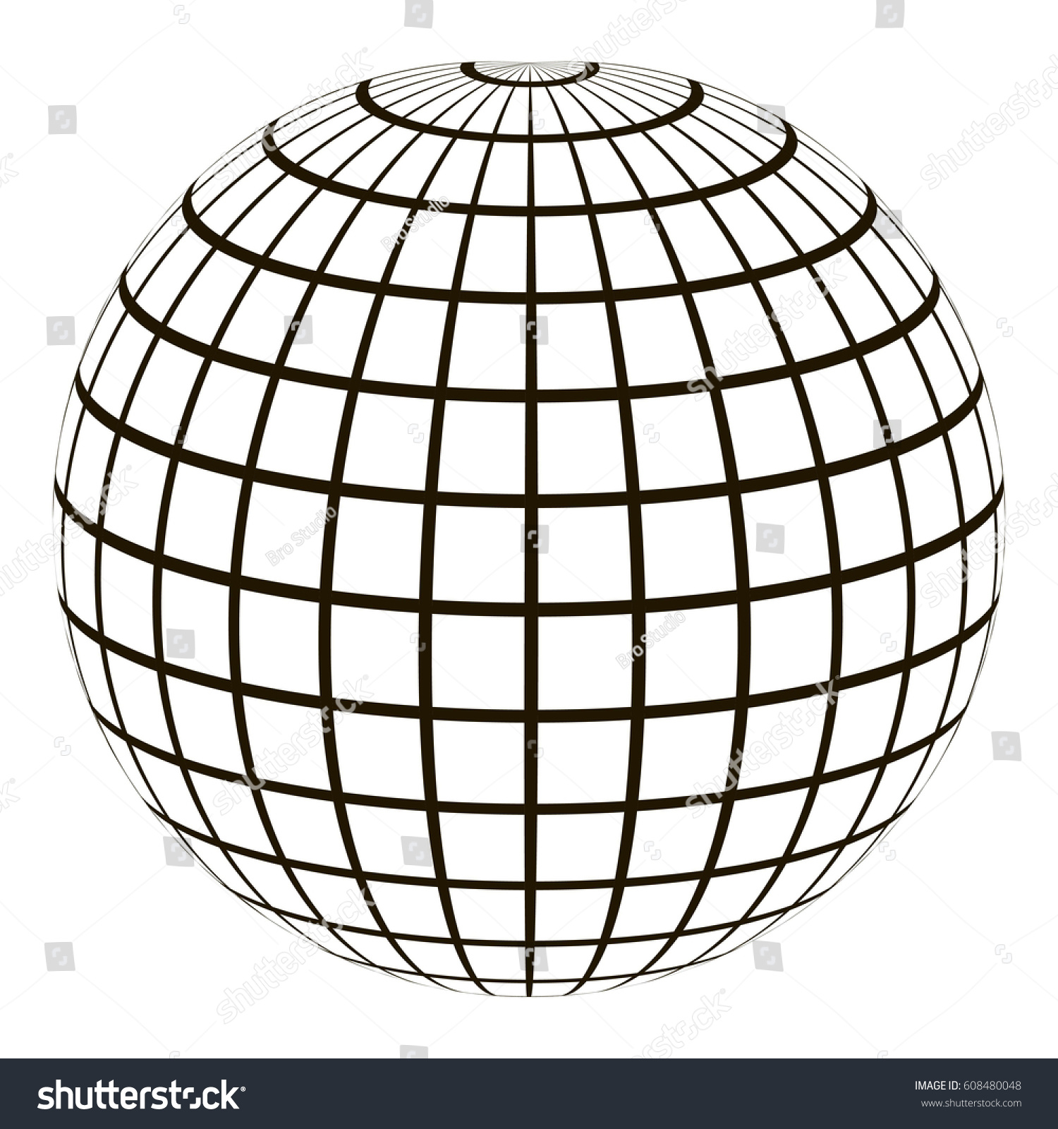 3 D Globe Coordinate Grid Meridian Parallel Stock-Vektorgrafik ...