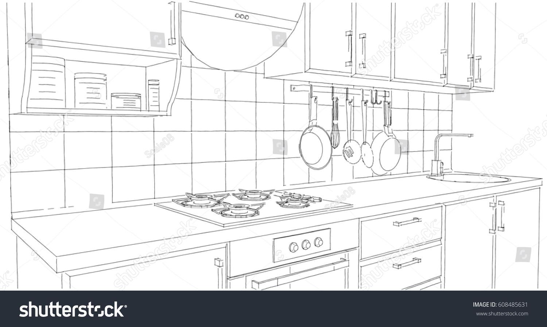 Small Kitchen Area Utensils Tile Splash Stock Illustration 608485631