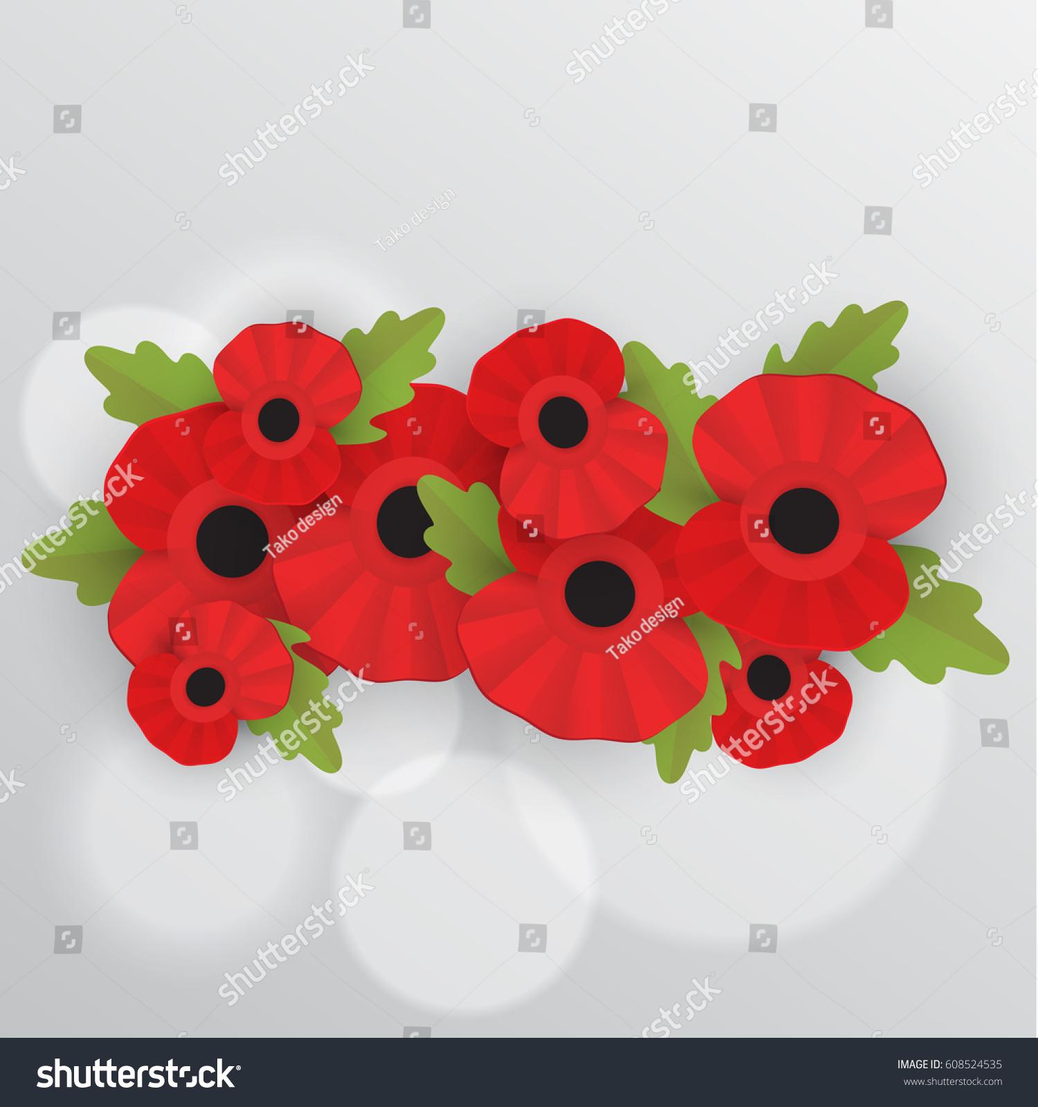 remembrance poppy poppy appeal decorative frame stock vector