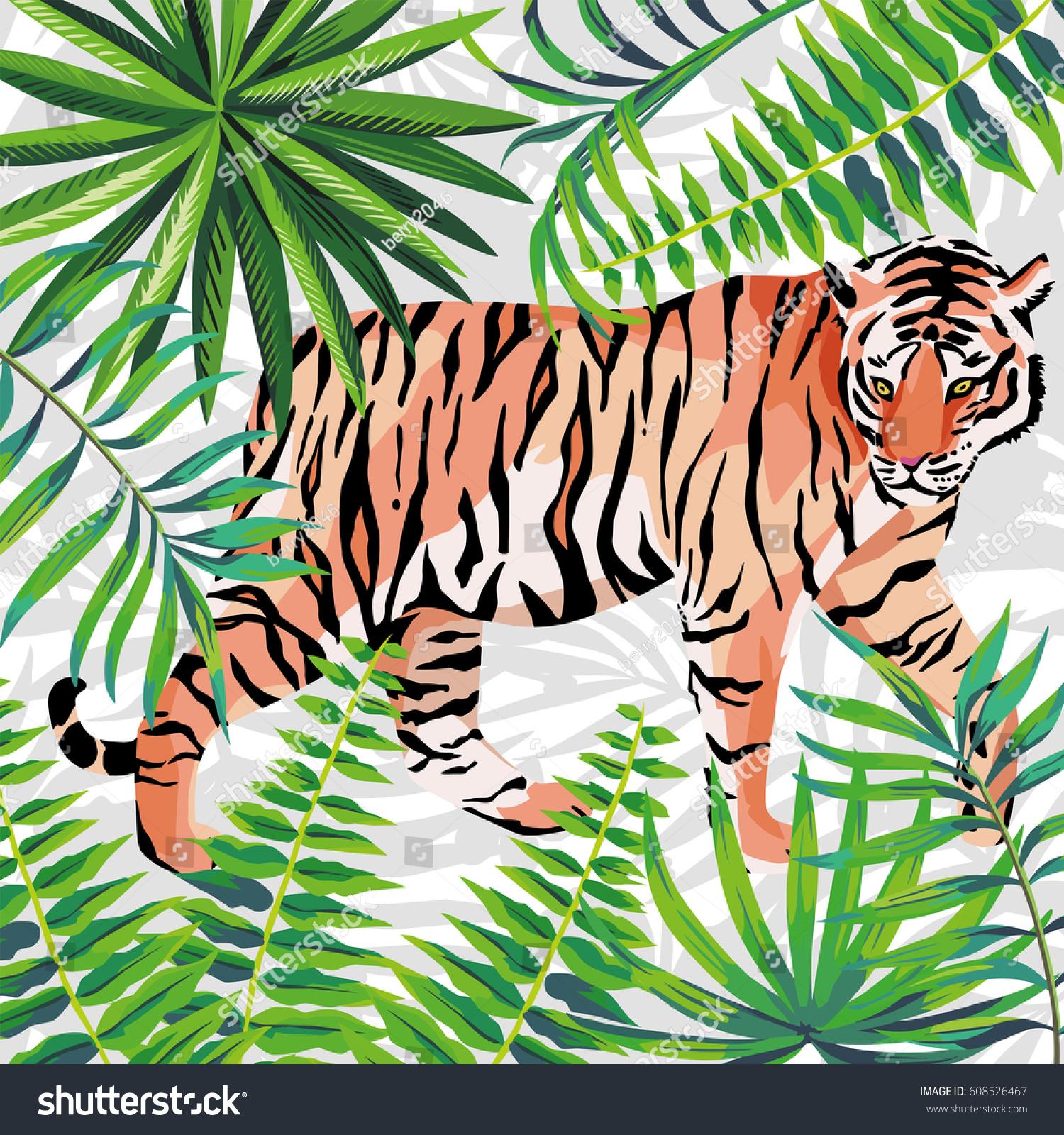Walking Tiger Jungle Green Leaves Beautiful Stock Vector