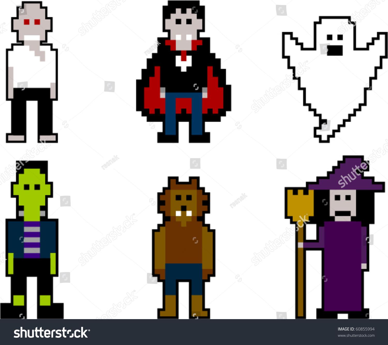 Vector Pixel Art Halloween Stock Vector 60855994 - Shutterstock