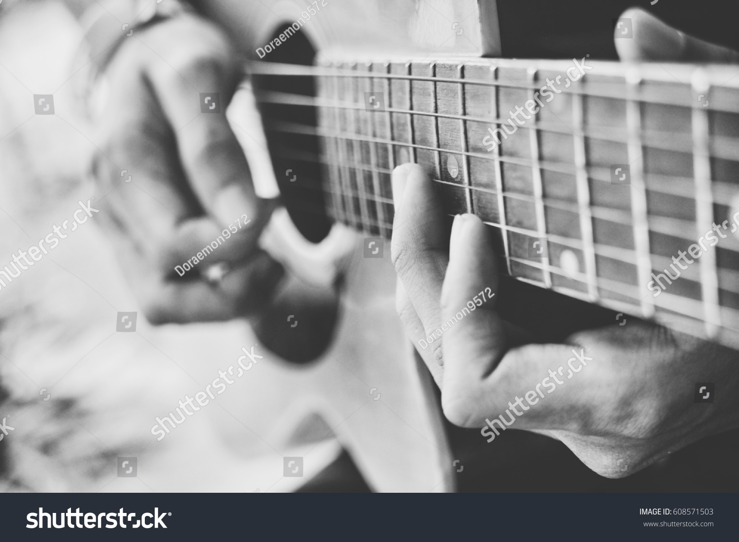 Man Practice Guitar Chords Fingle Styles Stock Photo Edit Now