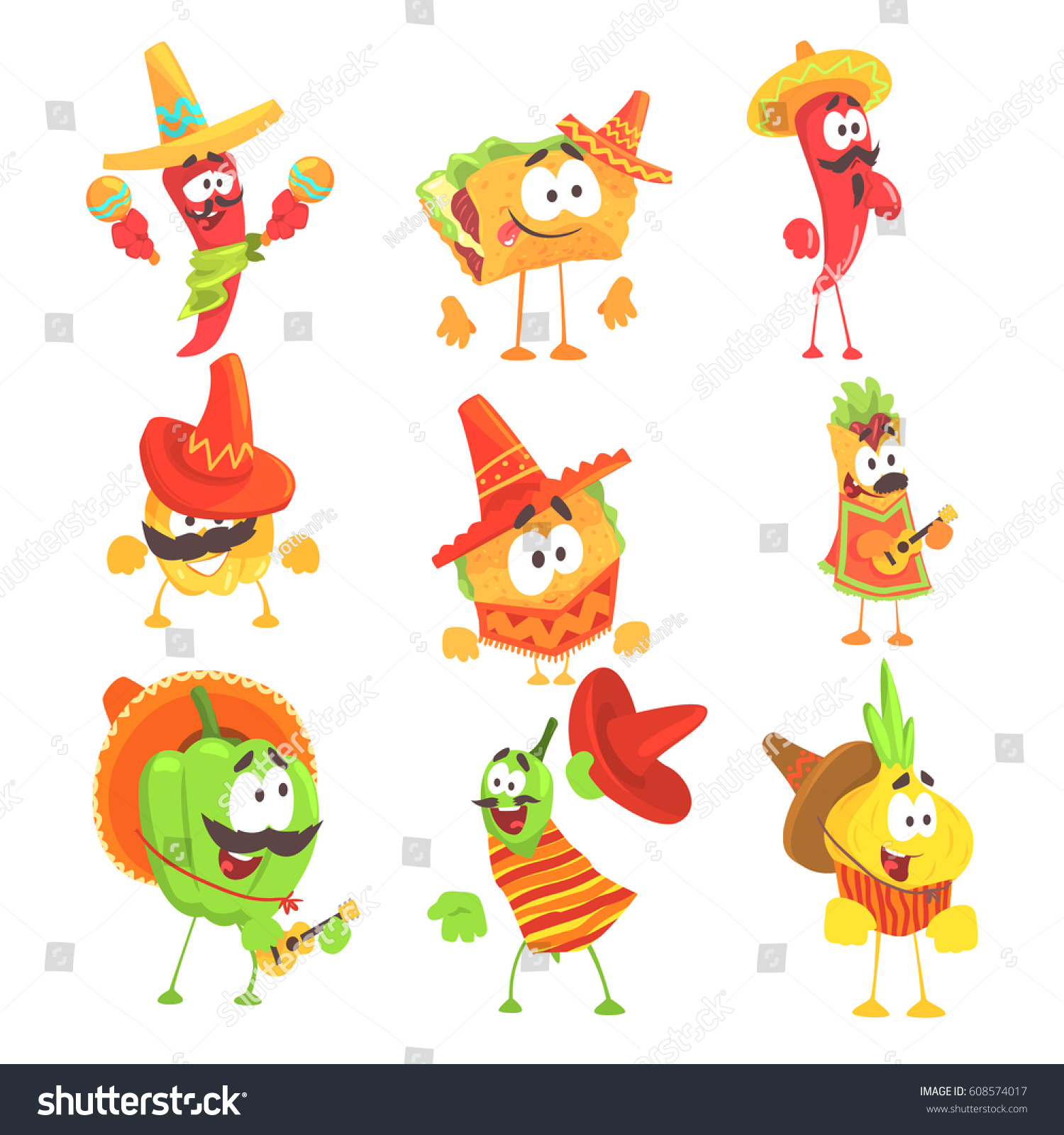 Cartoon Characters Mexican : Mexican food vegetables series cool cartoon stock vector