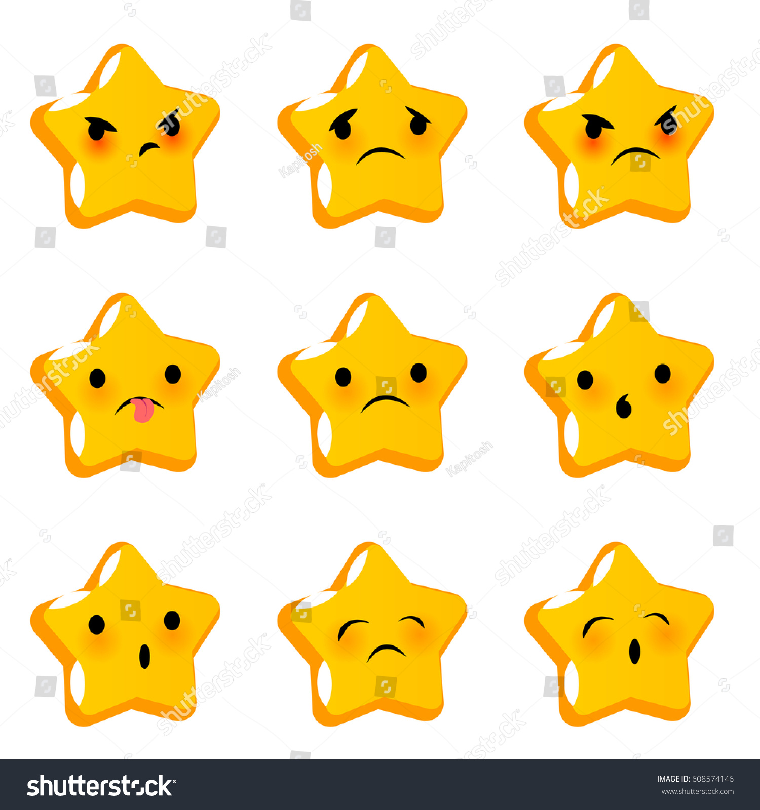Royalty Free Face Emoji Yellow Icon Emotional Star 608574146 Stock