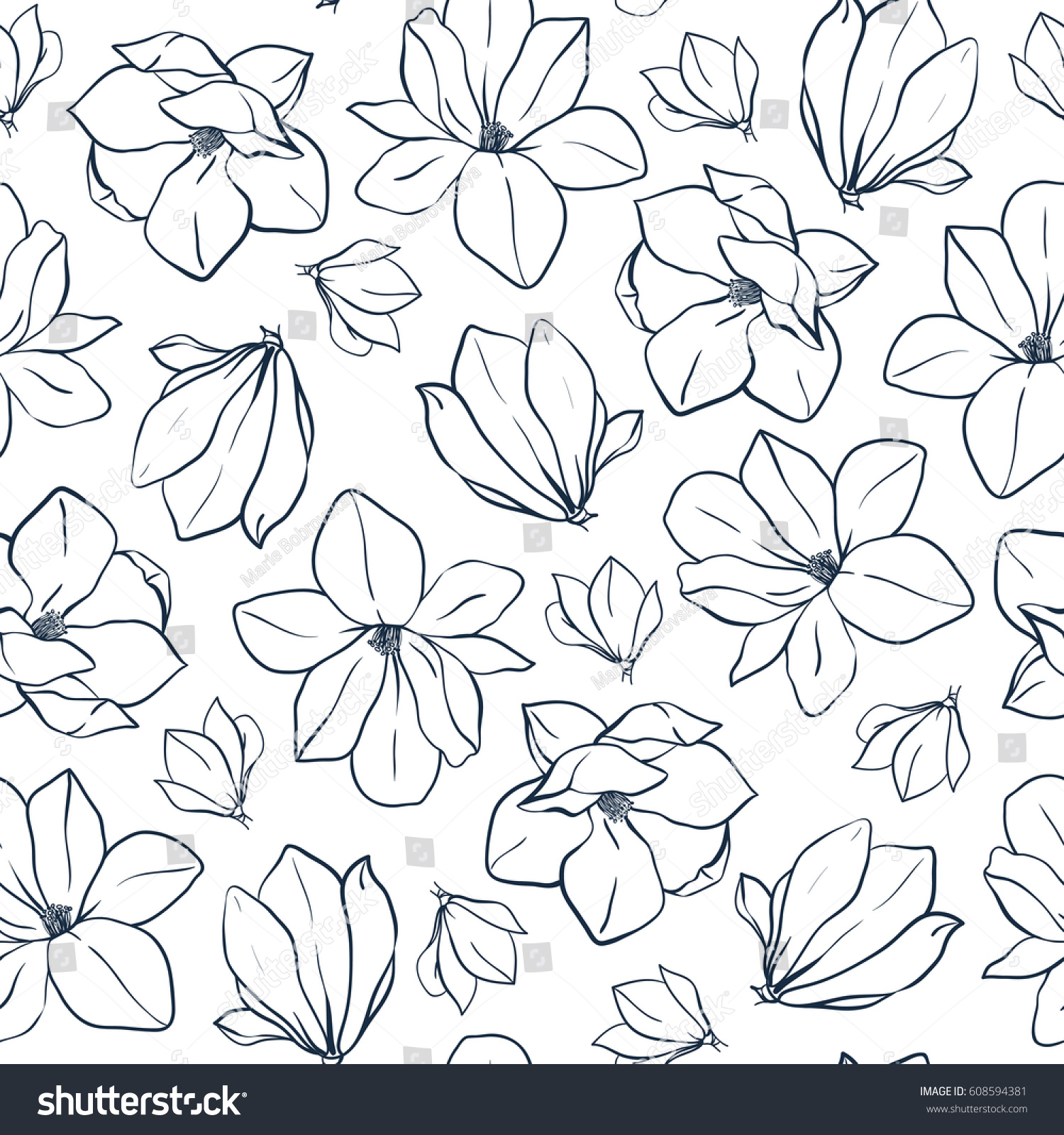 Coloring pages of flower buds - Graphic Magnolia Flowers And Buds Vector Spring Seamless Pattern Coloring Book Page Design
