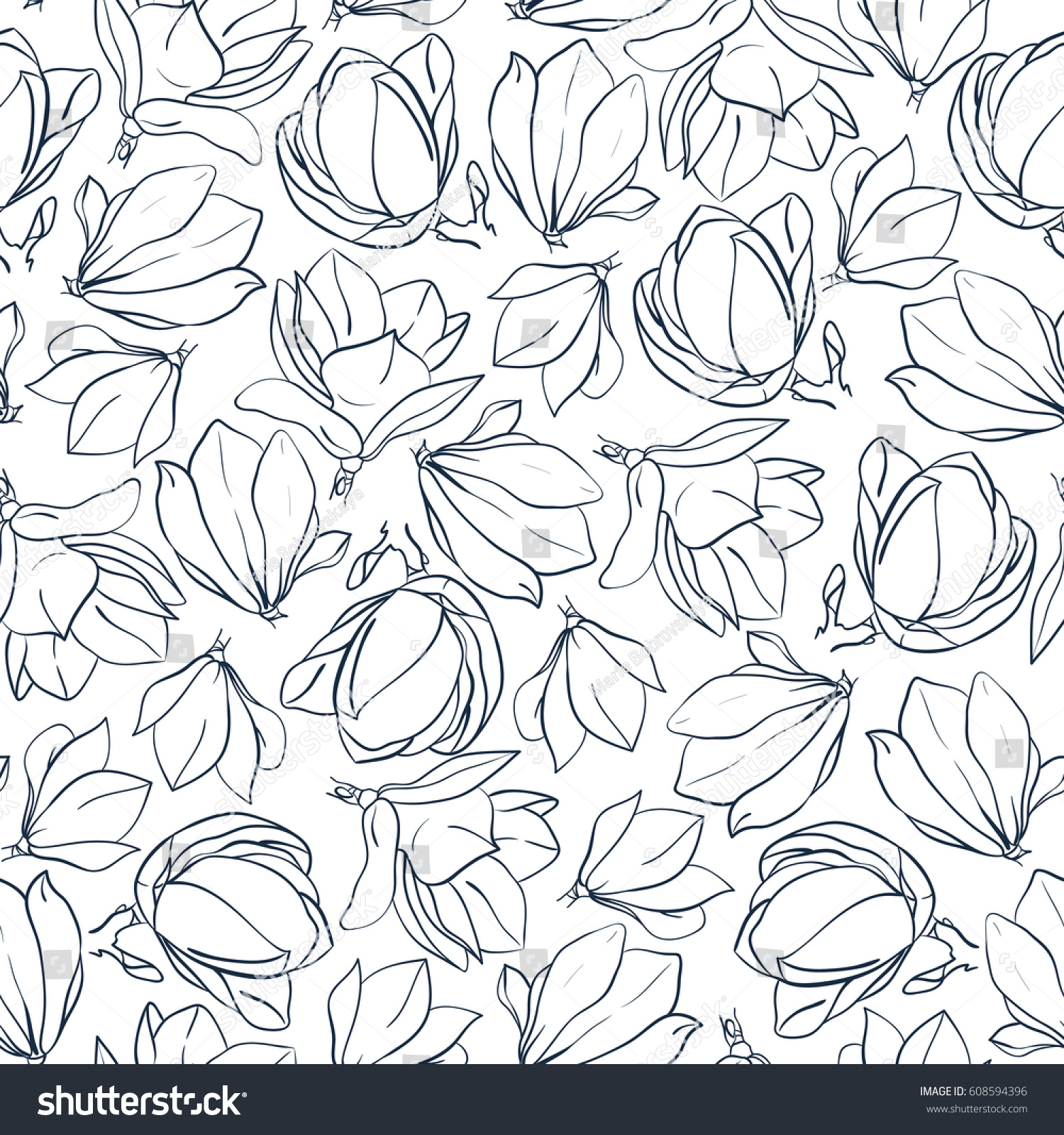 Coloring pages of flower buds - Graphic Magnolia Flowers And Buds Hand Drawn Vector Seamless Pattern Coloring Book Page Design