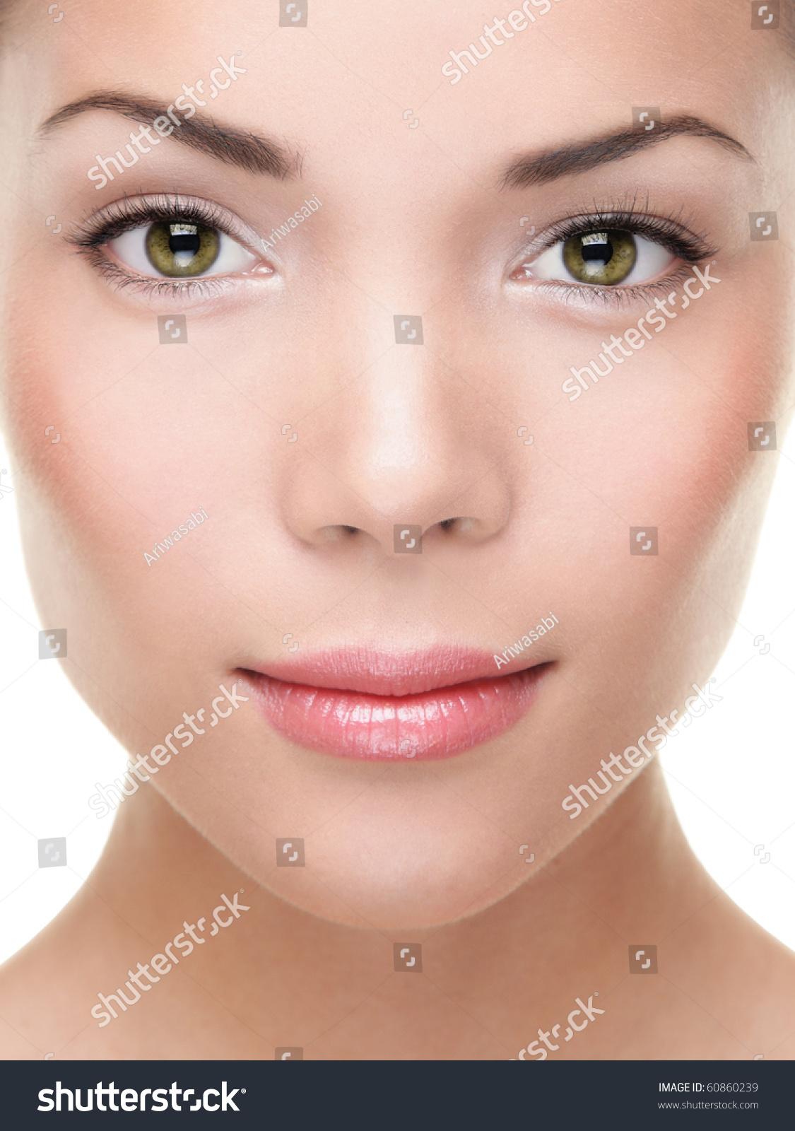 Woman Beauty Portrait Closeup Mixed Race Stock Photo ...