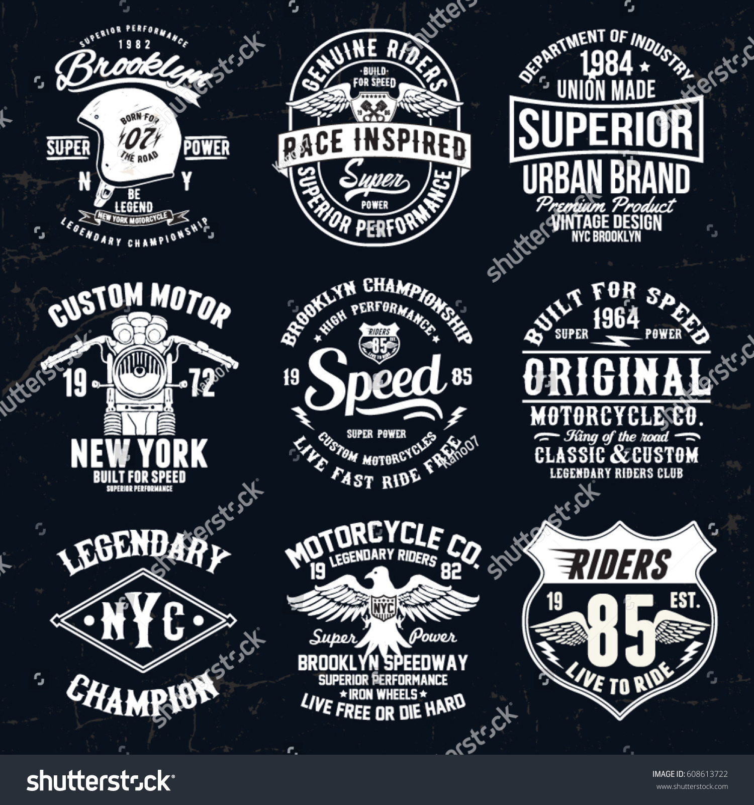 Design t shirt label - Set Of Vintage Motorcycle Labels Badges Logos And Design Elements For T Shirt