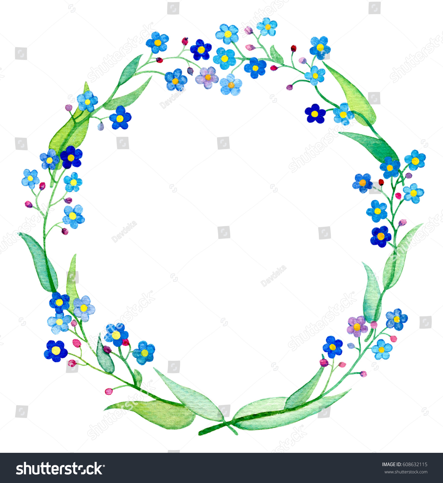 Royalty free forget me not wreath watercolor 608632115 stock photo spring flower forgetmenot with petals and leaves handdrawn floral wreath spring wedding design clipart blue flower arrangement forget me not frame stock izmirmasajfo Gallery