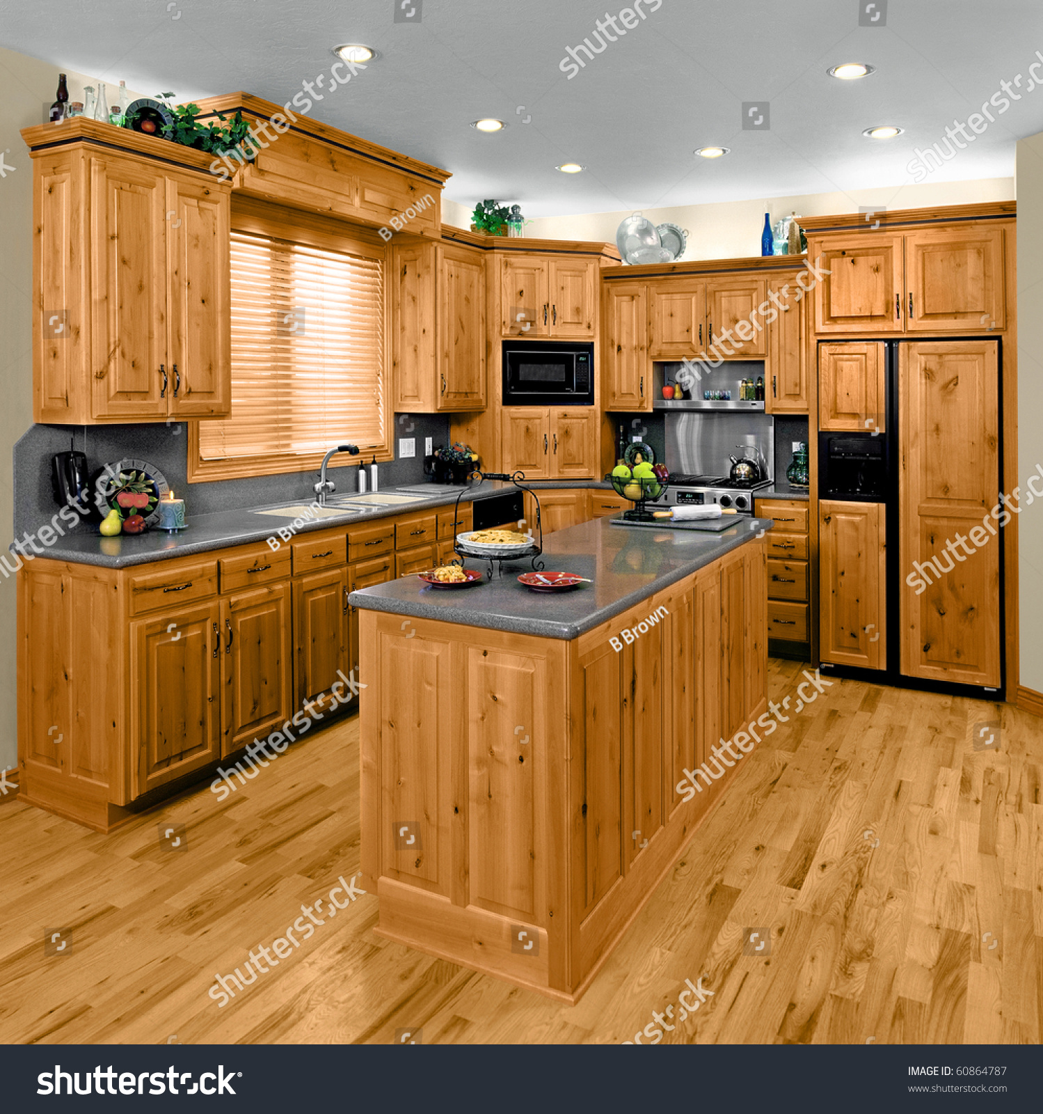 Kitchen Cabinets In Stock: Modern Residential Kitchen Hickory Cabinets Stock Photo