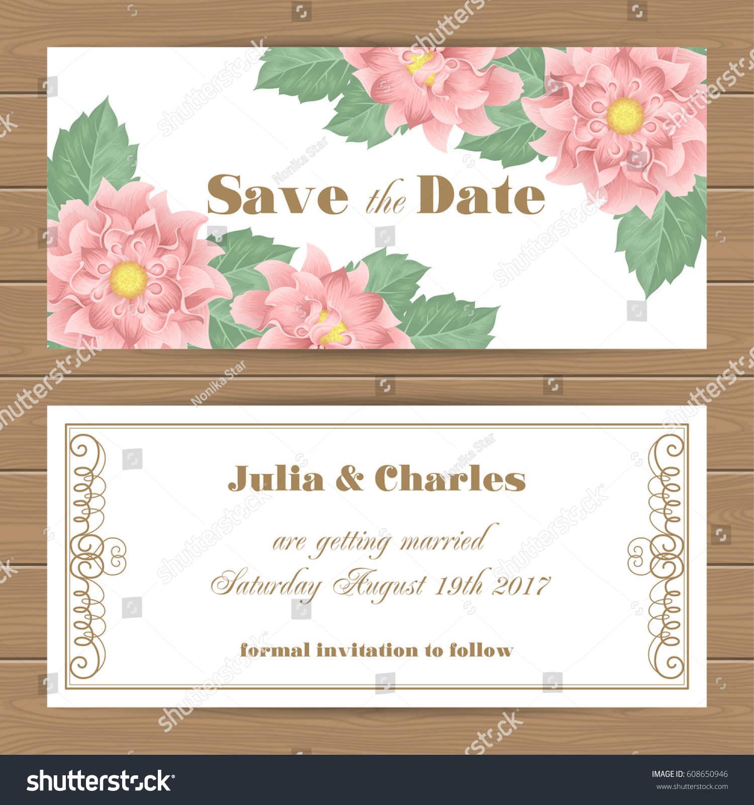 save date card wedding invitation template stock vector 608650946 shutterstock. Black Bedroom Furniture Sets. Home Design Ideas