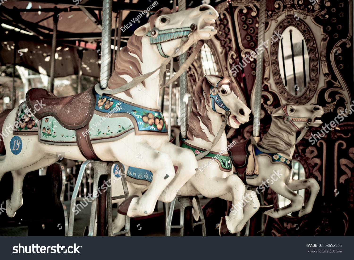 Abandoned Carousel Horses Stock Photo Edit Now 608652905